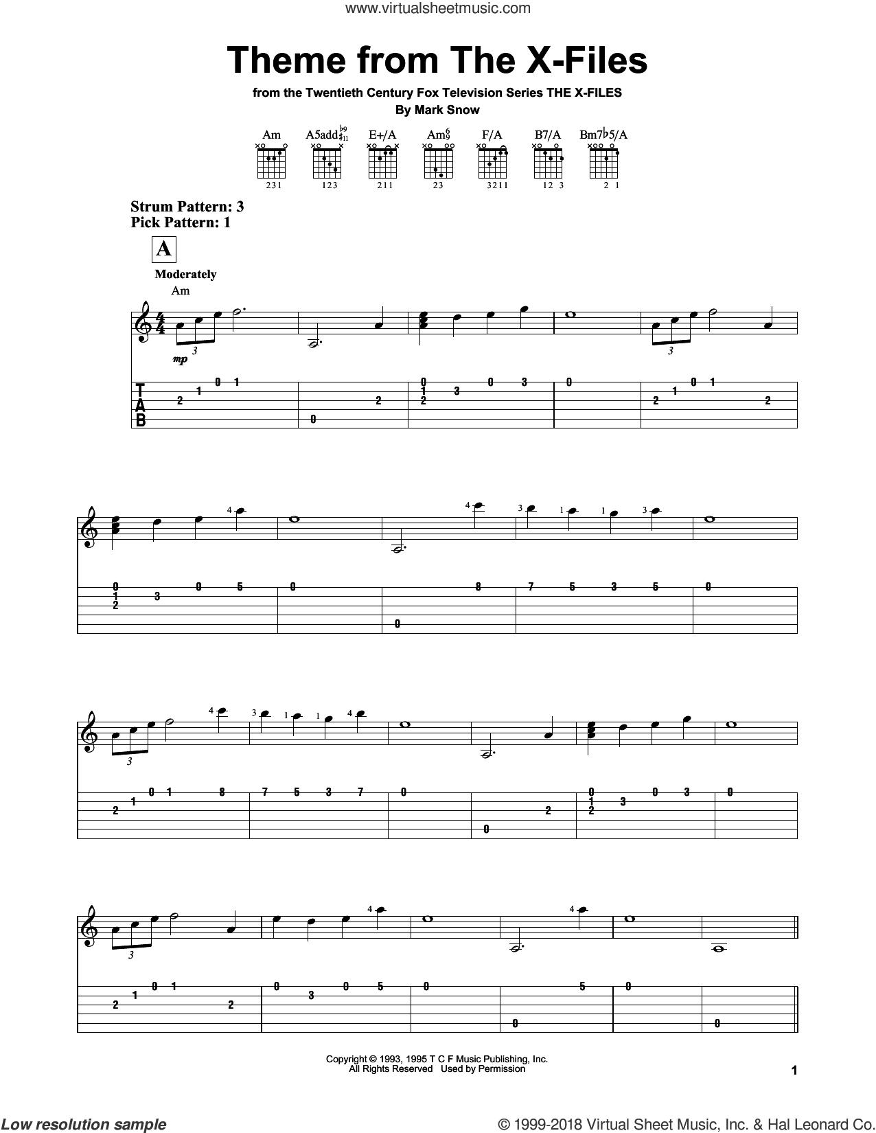 Theme From The X-Files sheet music for guitar solo (easy tablature) by Mark Snow, easy guitar (easy tablature). Score Image Preview.