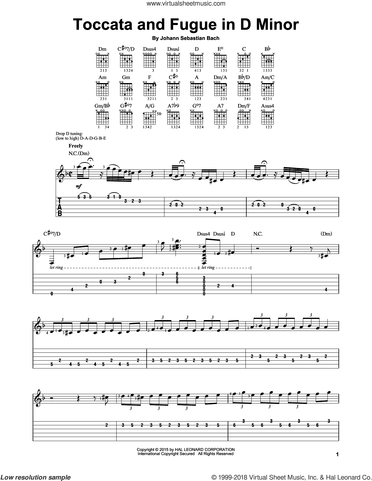 Toccata And Fugue In D Minor sheet music for guitar solo (easy tablature) by Johann Sebastian Bach, classical score, easy guitar (easy tablature). Score Image Preview.