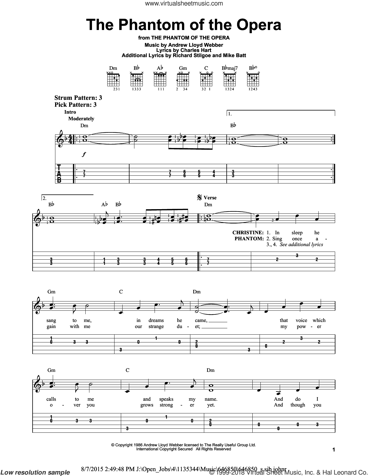 The Phantom Of The Opera sheet music for guitar solo (easy tablature) by Andrew Lloyd Webber, Charles Hart, Mike Batt and Richard Stilgoe, easy guitar (easy tablature). Score Image Preview.