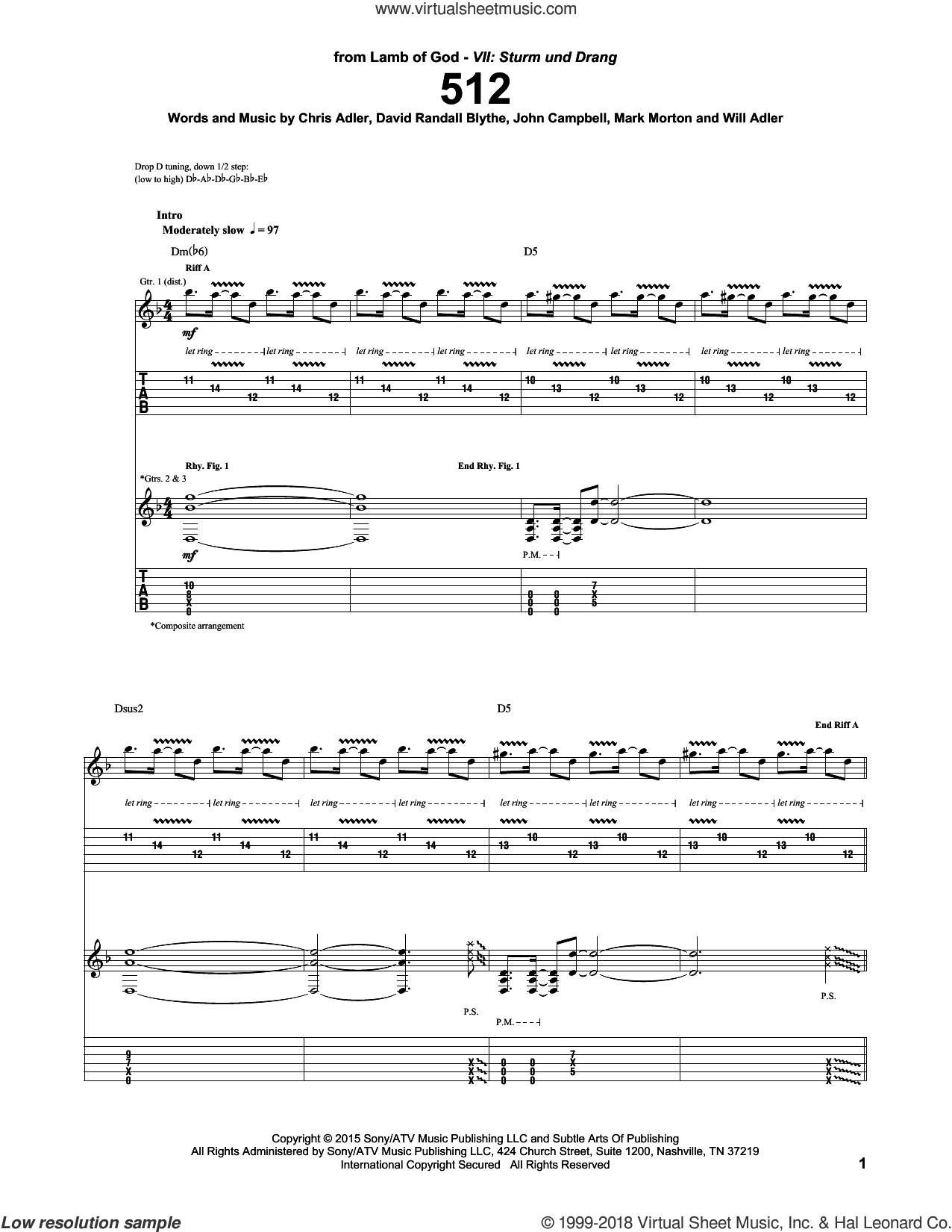 512 sheet music for guitar (tablature) by Will Adler and Lamb Of God. Score Image Preview.