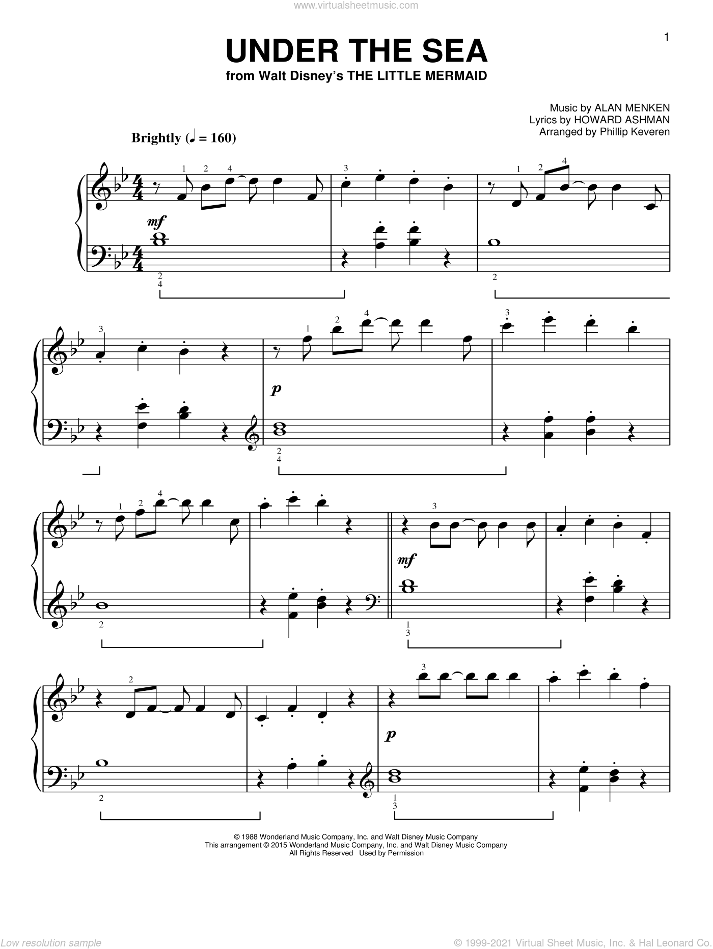 Under The Sea [Classical version] (from The Little Mermaid) (arr. Phillip Keveren), (easy) sheet music for piano solo by Alan Menken, Phillip Keveren and Howard Ashman, easy skill level