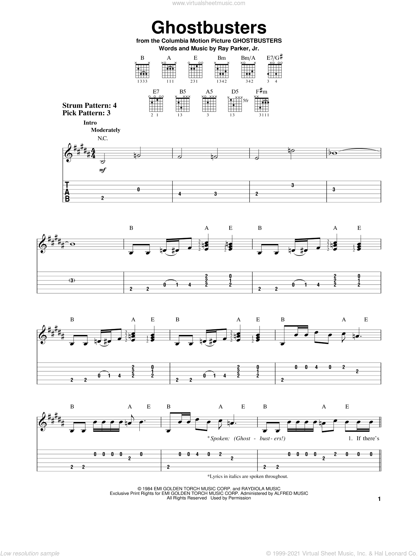 Ghostbusters sheet music for guitar solo (easy tablature) by Ray Parker Jr.. Score Image Preview.
