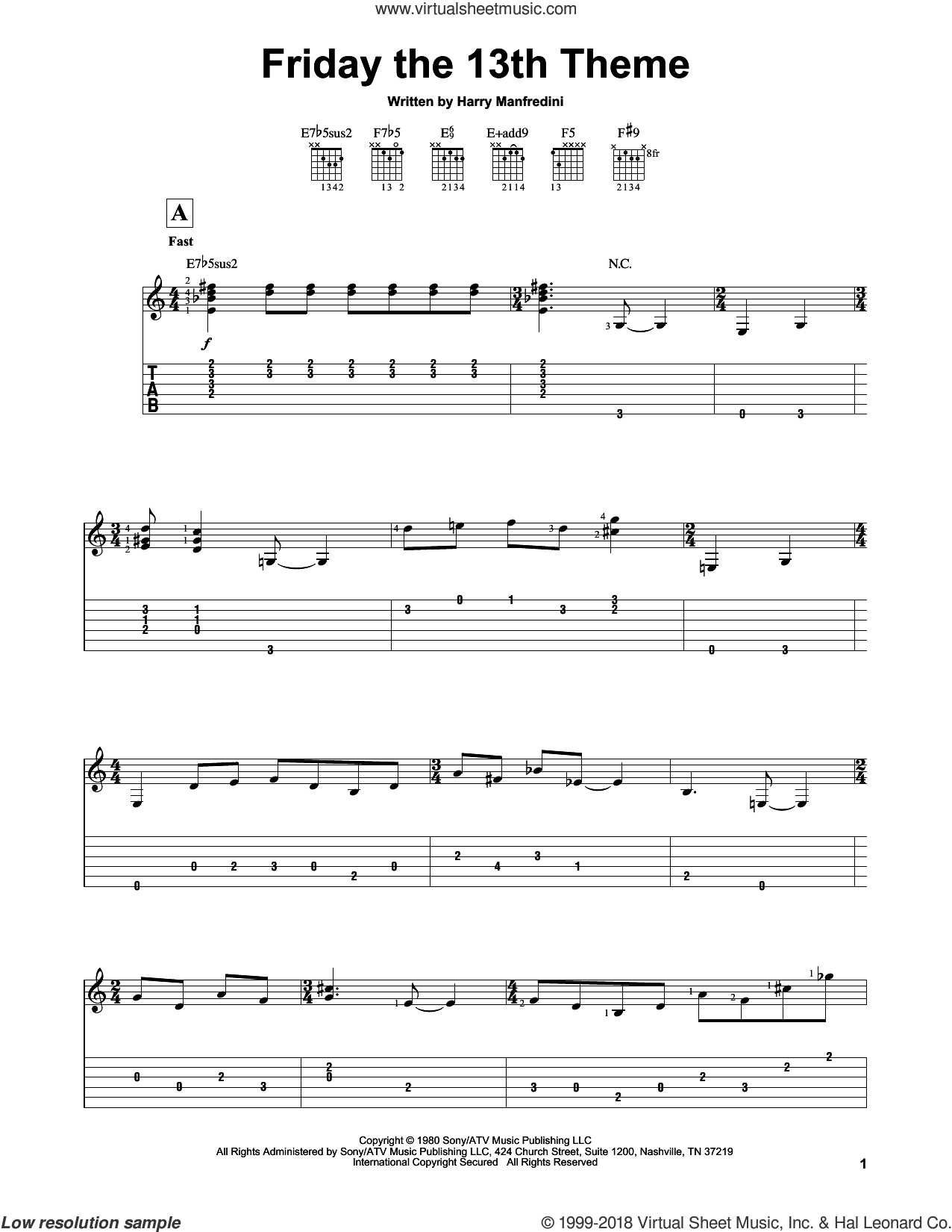 Friday The 13th Theme sheet music for guitar solo (easy tablature) by Harry Manfredini. Score Image Preview.
