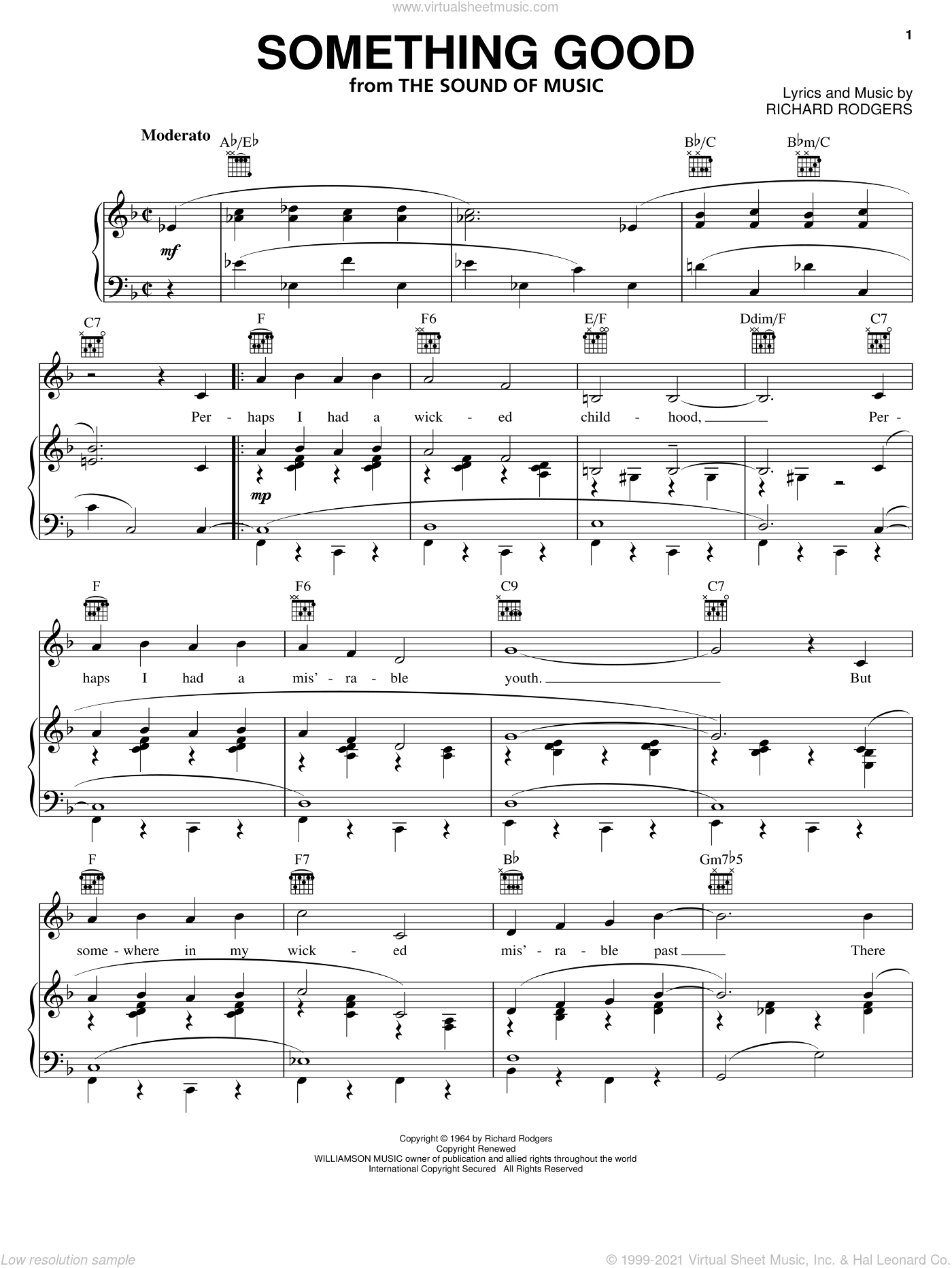 Something Good sheet music for voice, piano or guitar by Rodgers & Hammerstein and Richard Rodgers, intermediate voice, piano or guitar. Score Image Preview.