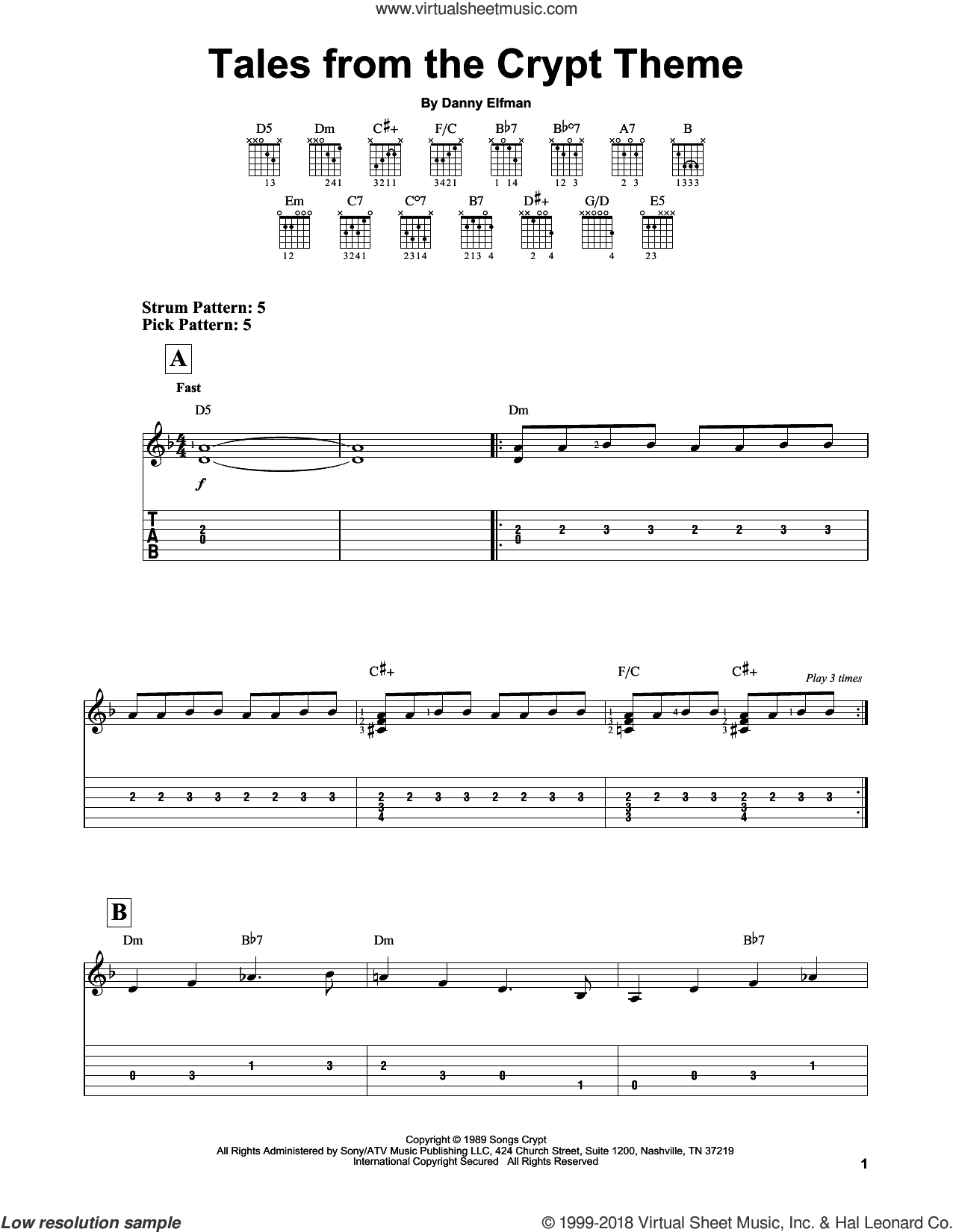 Tales From The Crypt Theme sheet music for guitar solo (easy tablature) by Danny Elfman, easy guitar (easy tablature)
