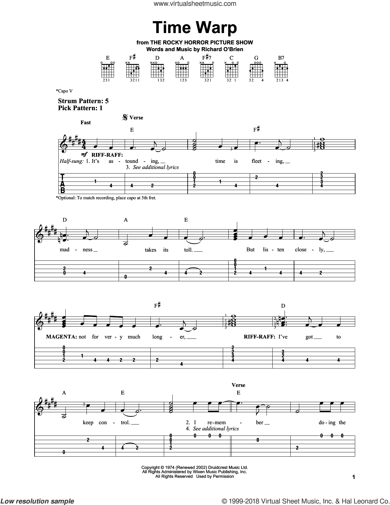 Time Warp sheet music for guitar solo (easy tablature) by Richard O'Brien, easy guitar (easy tablature)