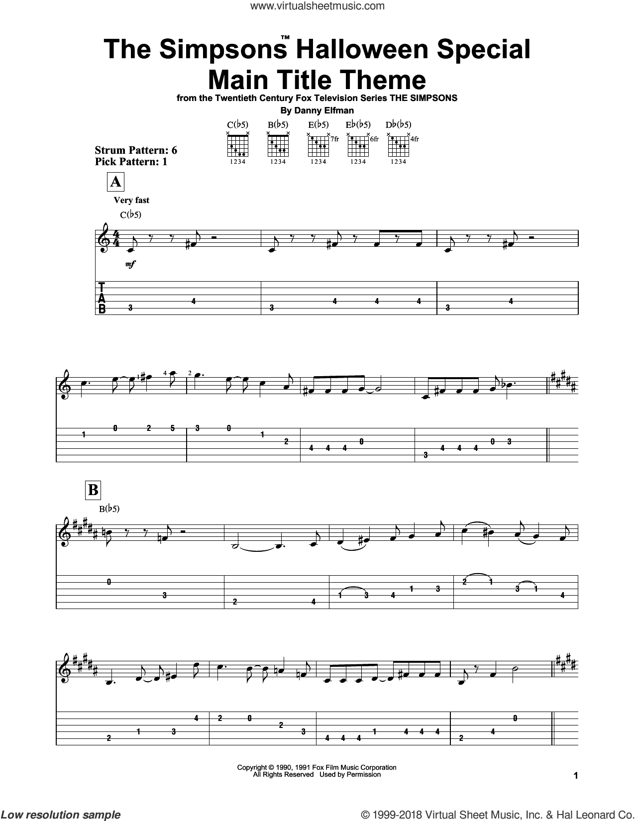 The Simpsons Halloween Special Main Title Theme sheet music for guitar solo (easy tablature) by Danny Elfman. Score Image Preview.