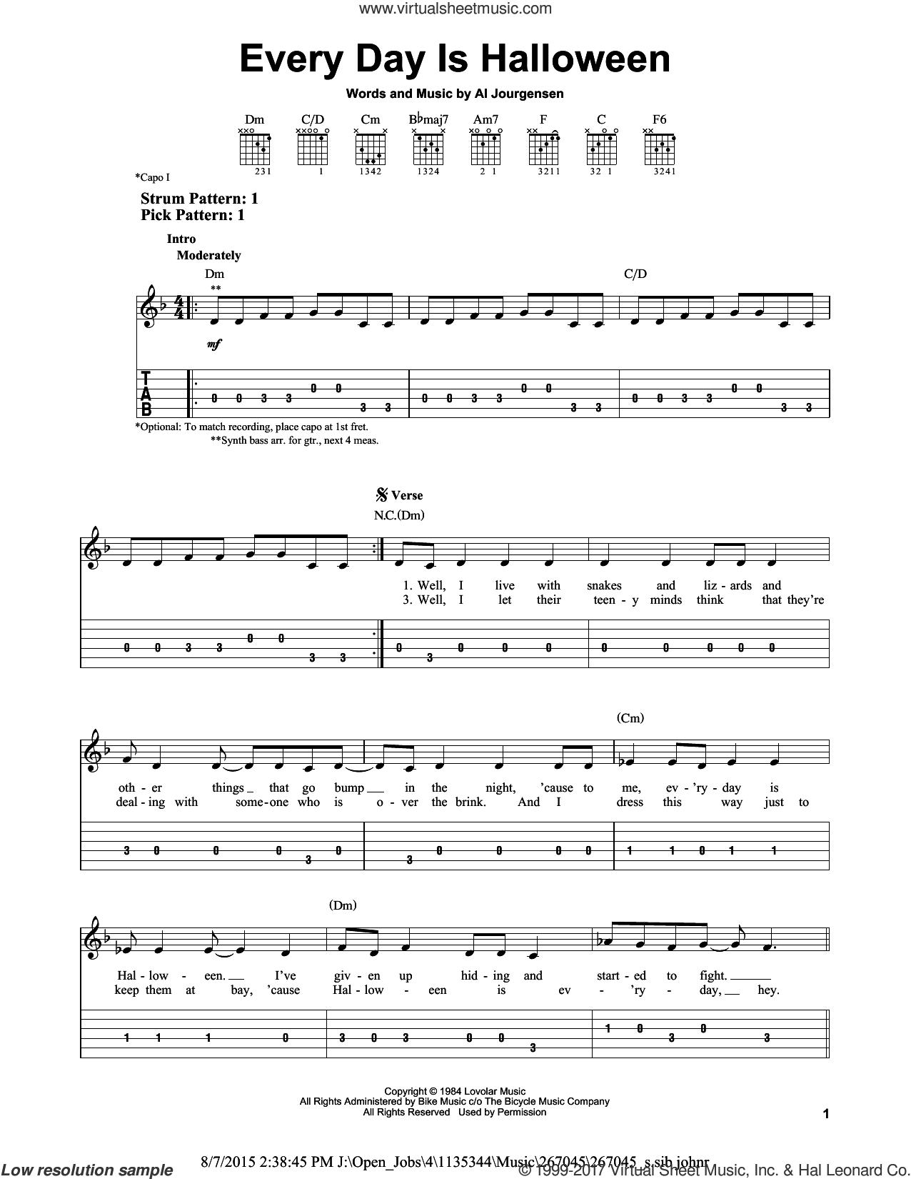 Every Day Is Halloween sheet music for guitar solo (easy tablature) by Ministry and Al Jourgensen, easy guitar (easy tablature). Score Image Preview.
