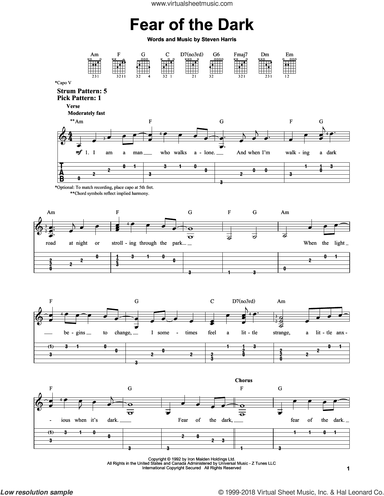Fear Of The Dark sheet music for guitar solo (easy tablature) by Steve Harris and Iron Maiden. Score Image Preview.