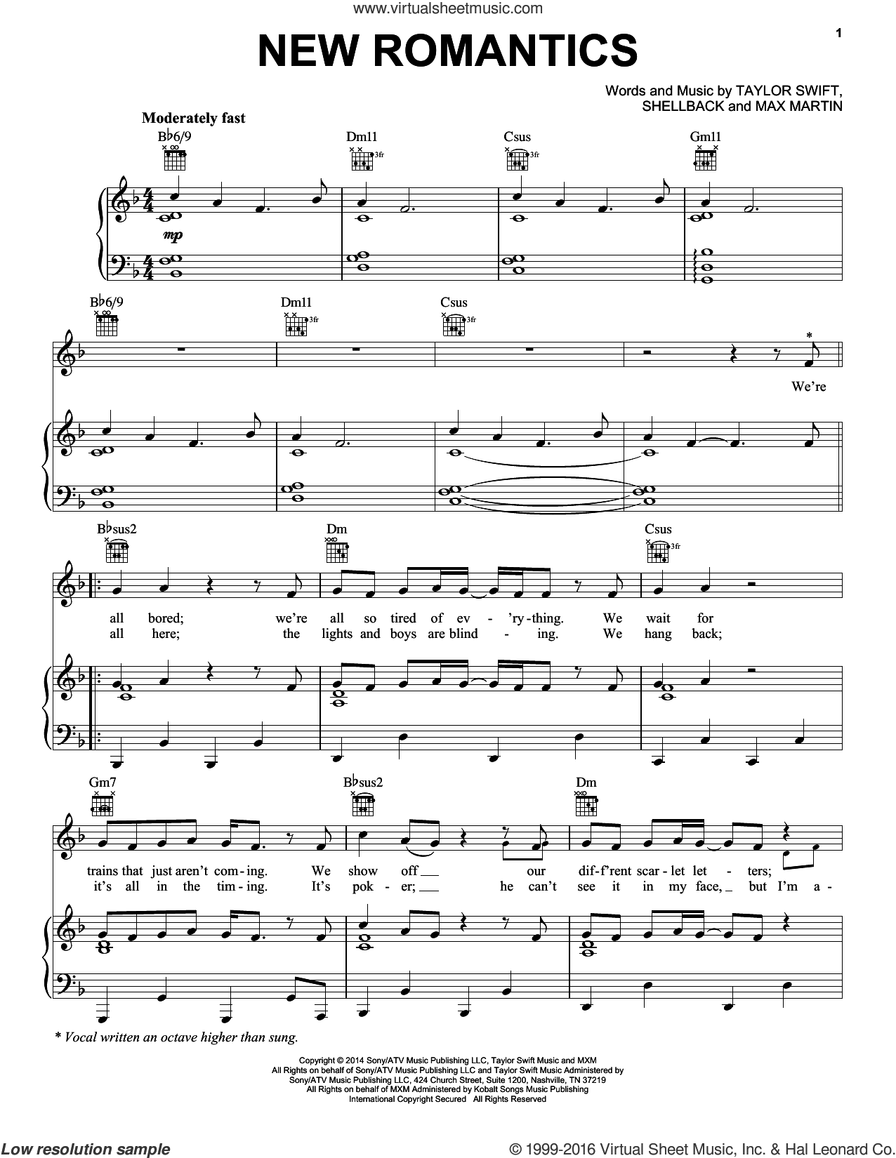New Romantics sheet music for voice, piano or guitar by Taylor Swift, Max Martin and Shellback, intermediate skill level
