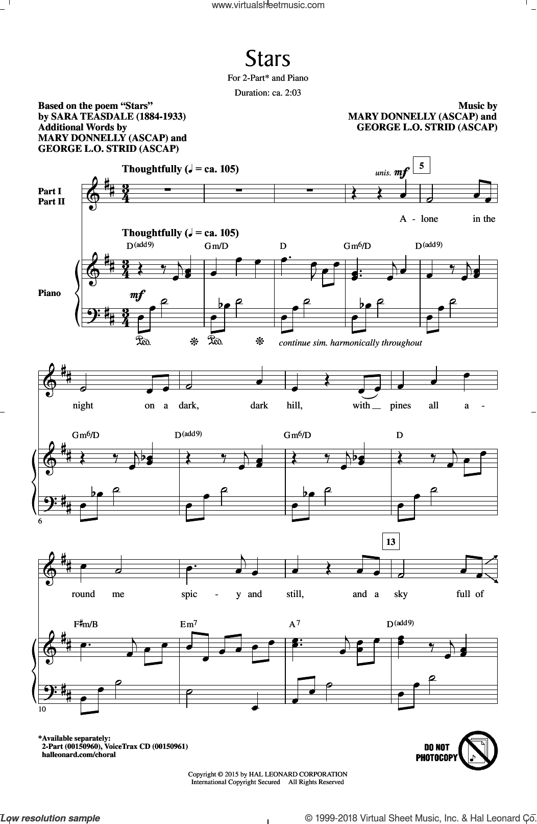 Stars sheet music for choir (2-Part) by George L.O. Strid, Mary Donnelly and Sara Teasdale, intermediate duet