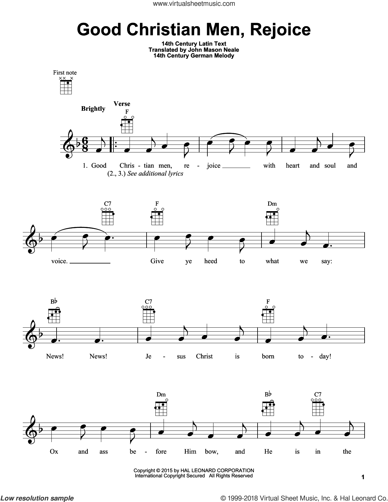 Good Christian Men, Rejoice sheet music for ukulele by John Mason Neale and Miscellaneous, intermediate. Score Image Preview.