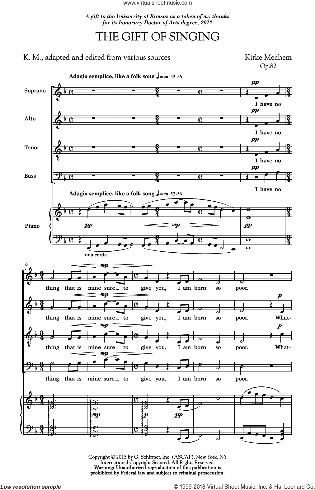 Gift Of Singing sheet music for choir and piano (SATB) by Kirke Mechem. Score Image Preview.