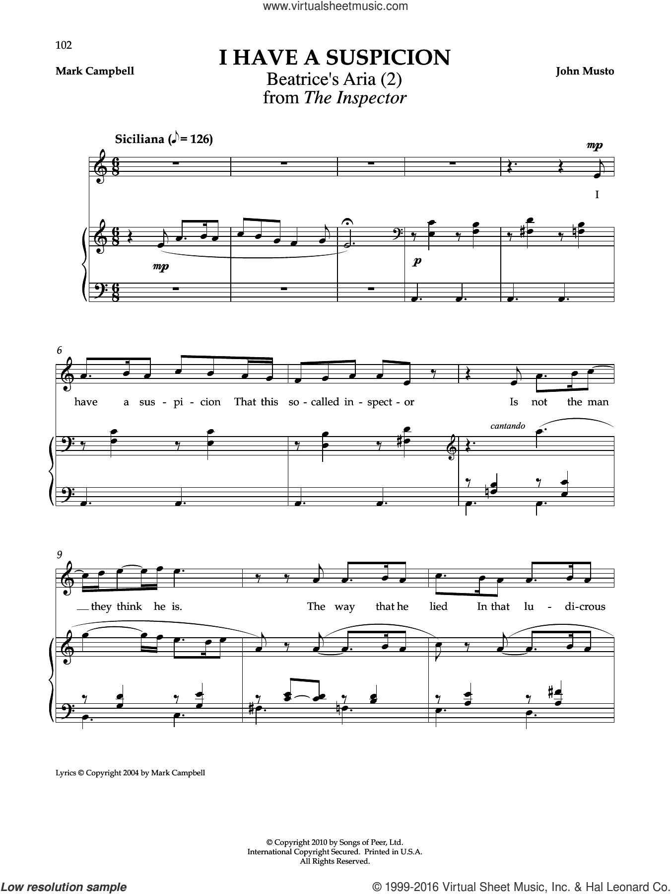 I Have A Suspicion sheet music for voice and piano by Mark Campbell and John Musto. Score Image Preview.