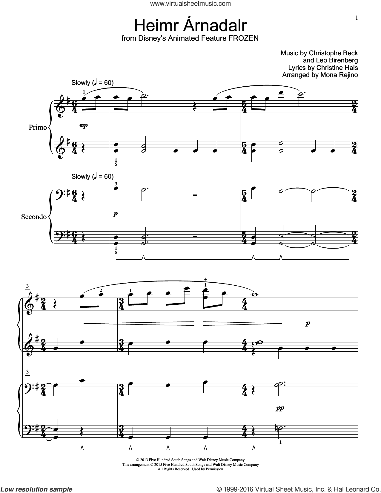 Heimr Arnadalr sheet music for piano four hands (duets) by Christophe Beck and Christine Hals. Score Image Preview.