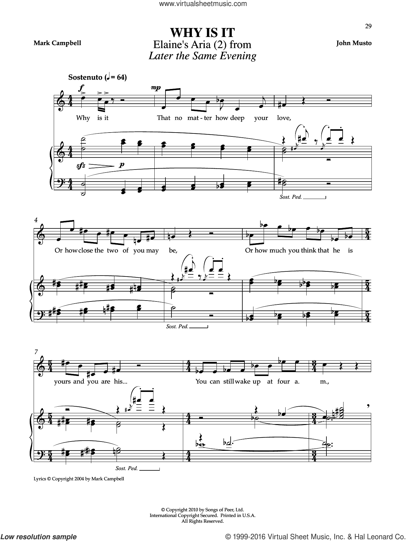 Why Is It sheet music for voice and piano by John Musto and Mark Campbell. Score Image Preview.