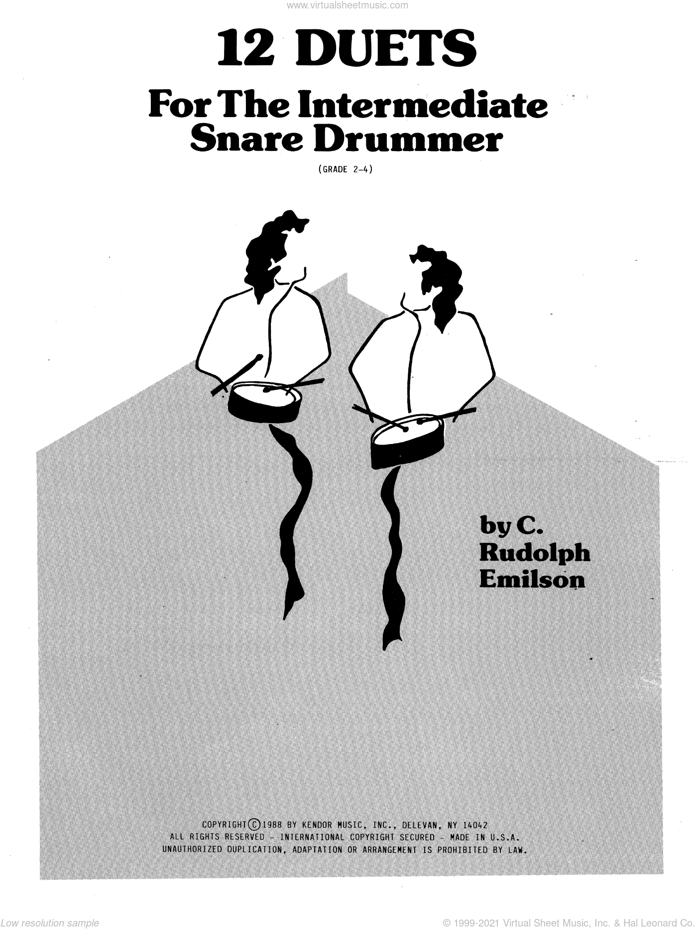 12 Duets For The Intermediate Snare Drummer sheet music for percussions by Emilson. Score Image Preview.