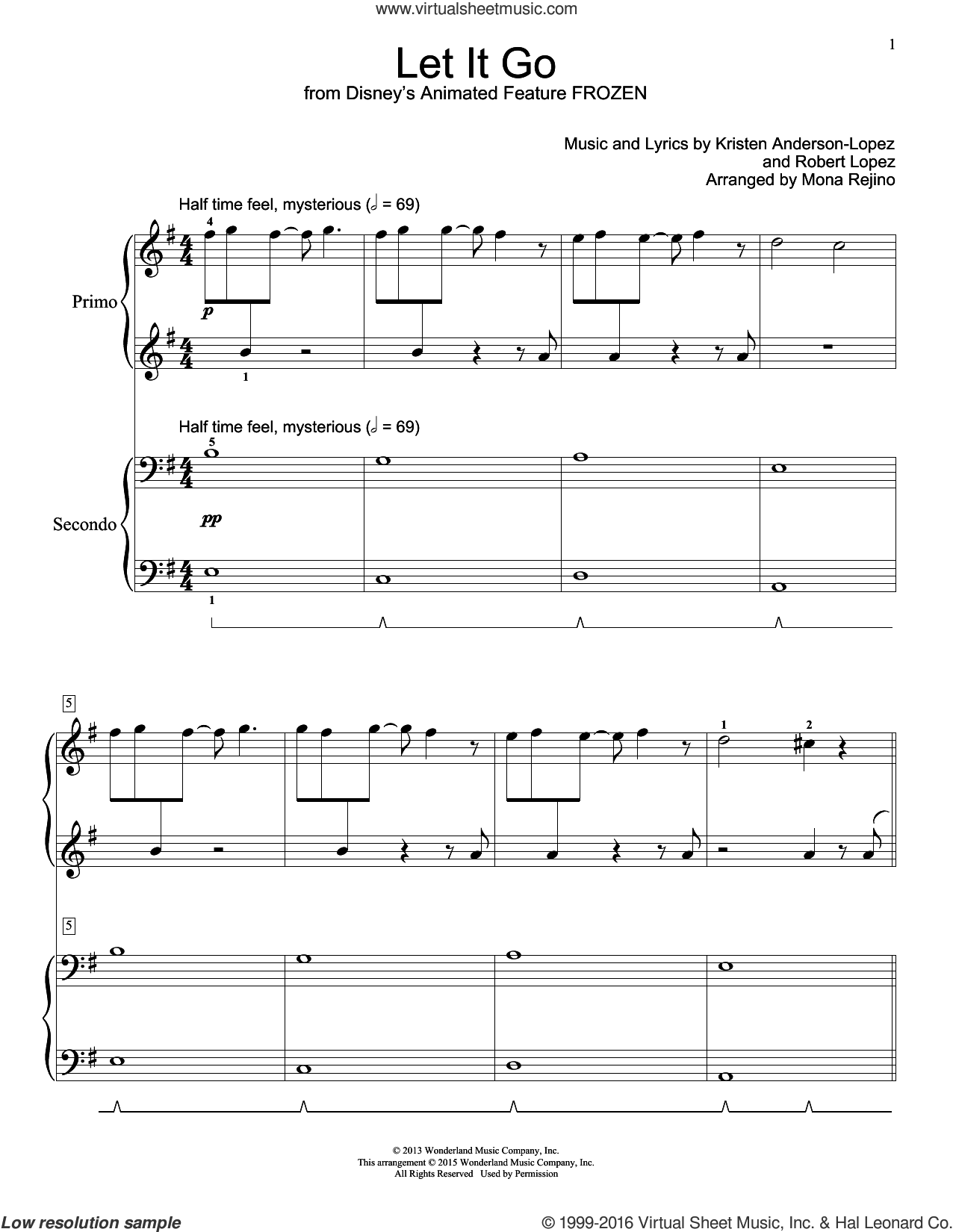 Let It Go sheet music for piano four hands (duets) by Robert Lopez, Idina Menzel and Kristen Anderson-Lopez. Score Image Preview.