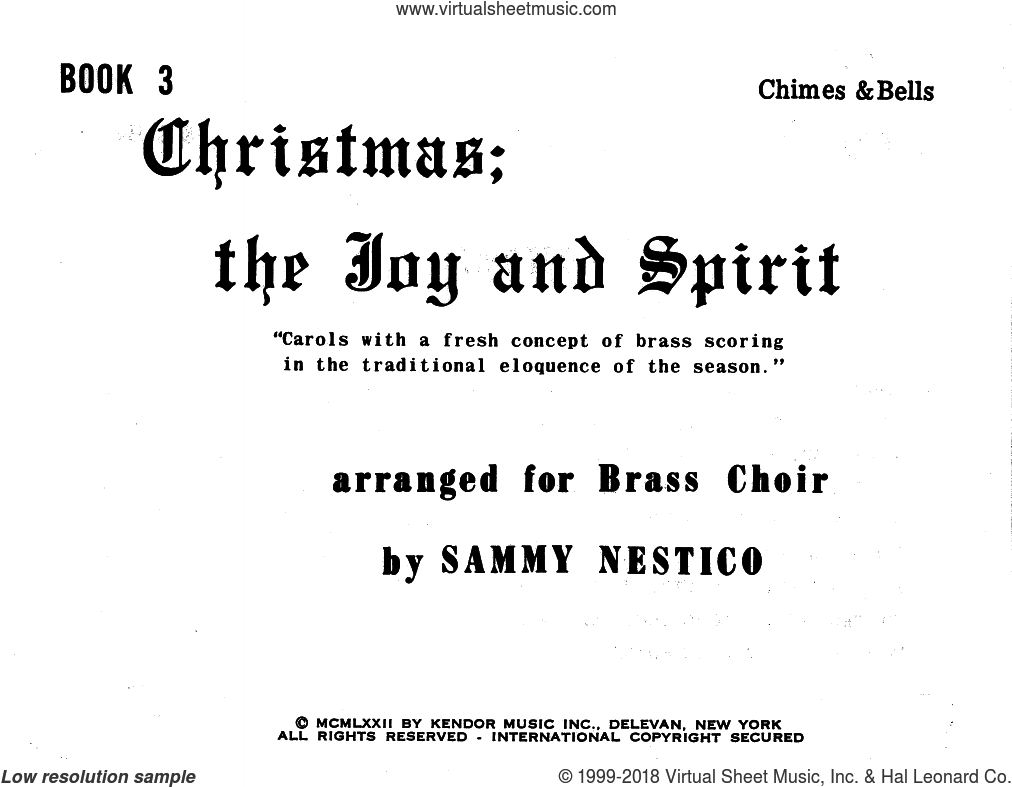 Christmas; The Joy and Spirit- Book 3/Chimes and Bells sheet music for brass quintet by Sammy Nestico. Score Image Preview.