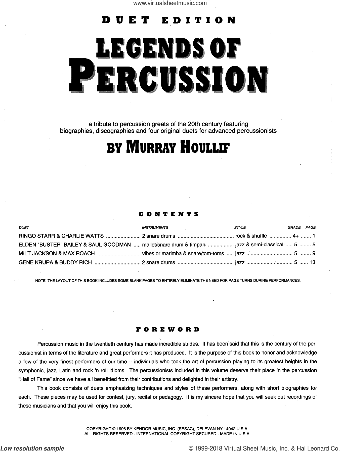 Legends Of Percussion, Duet Edition sheet music for percussions by Houllif, intermediate skill level