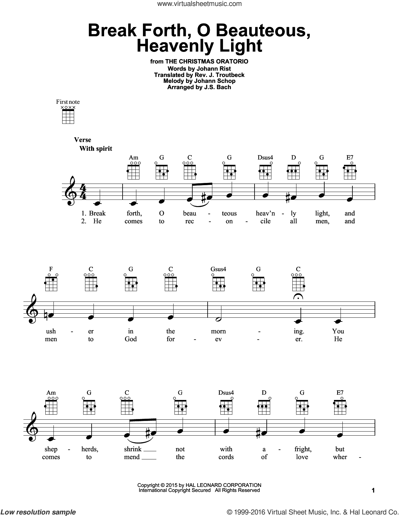 Break Forth, O Beauteous, Heavenly Light sheet music for ukulele by Johann Sebastian Bach. Score Image Preview.