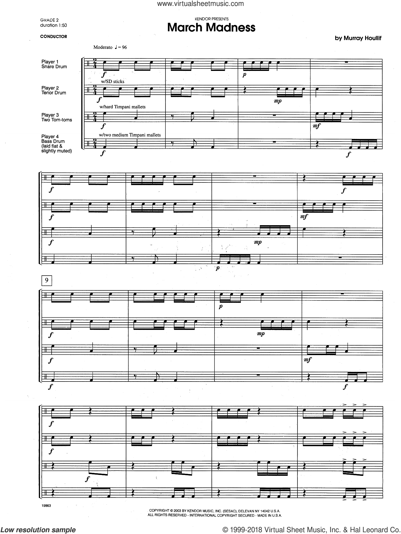 March Madness (COMPLETE) sheet music for percussions by Houllif, intermediate