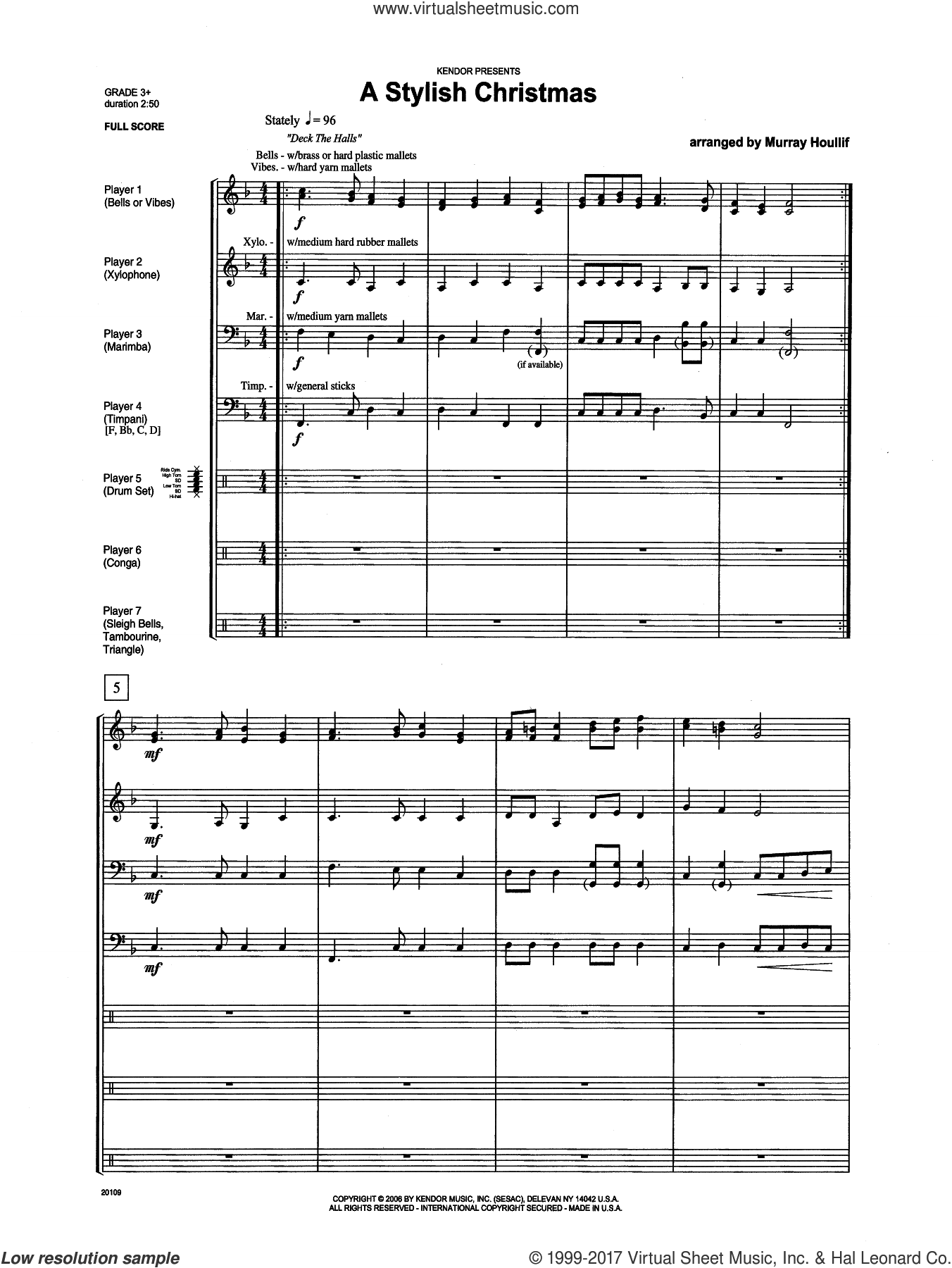 A Stylish Christmas (COMPLETE) sheet music for percussions by Houllif, intermediate. Score Image Preview.