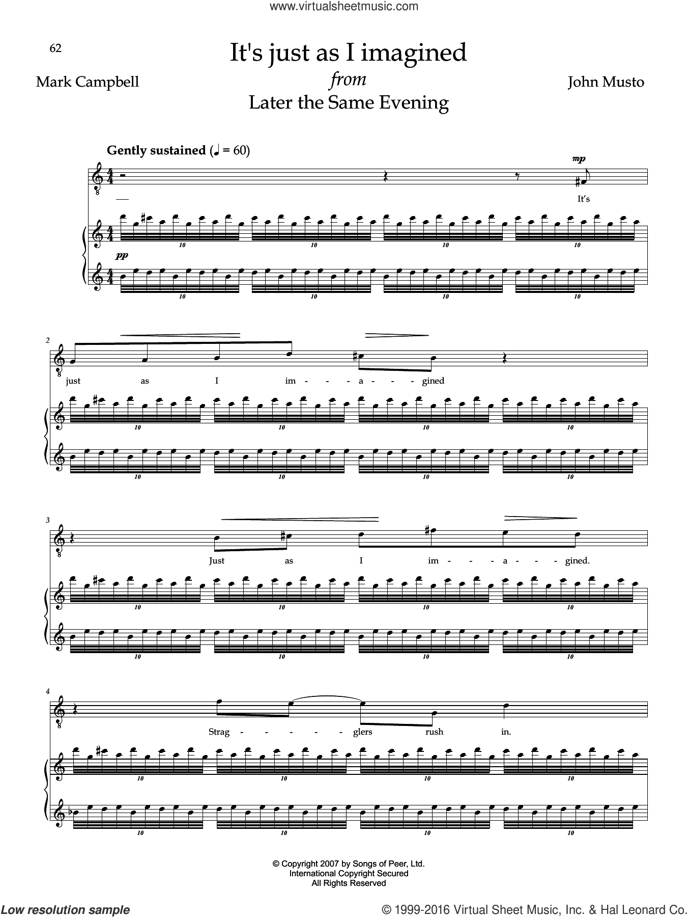 It's Just As I Imagined sheet music for voice and piano by Mark Campbell and John Musto. Score Image Preview.