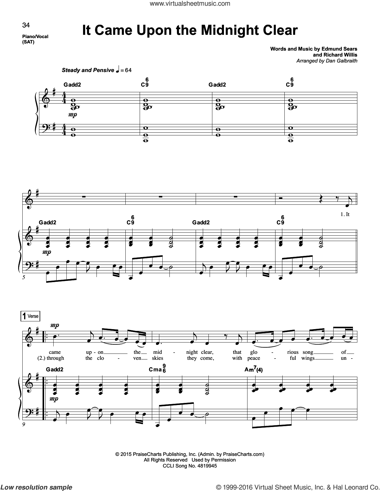 It Came Upon The Midnight Clear sheet music for voice and piano by Edmund Sears and Dan Galbraith. Score Image Preview.