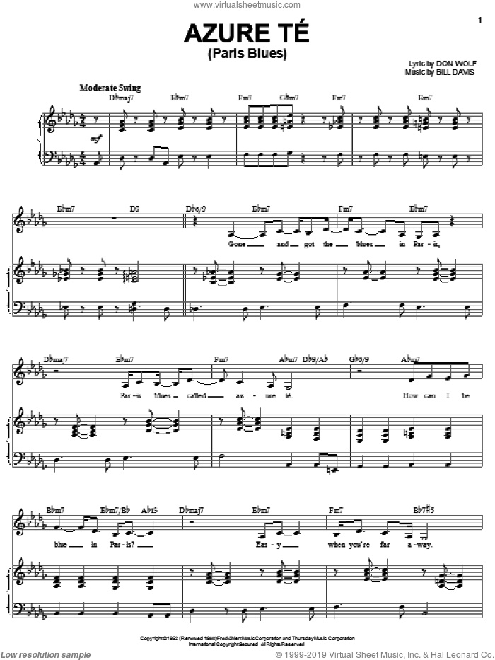 Azure-Te (Paris Blues) sheet music for voice, piano or guitar by Karrin Allyson, Frank Sinatra, Bill Davis and Don Wolf, intermediate skill level