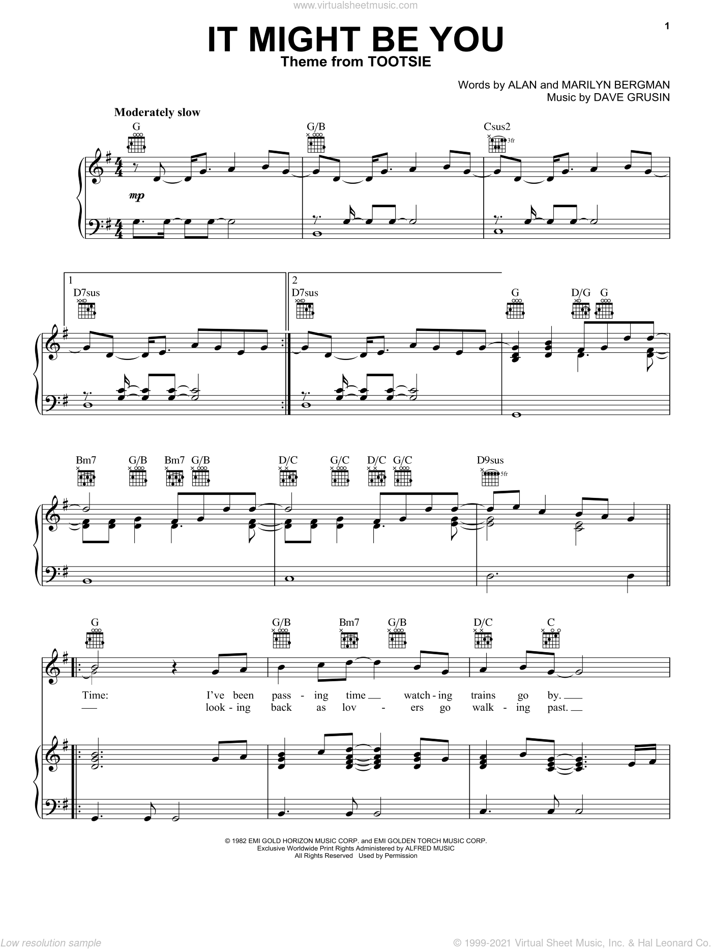 It Might Be You sheet music for voice, piano or guitar by Marilyn Bergman, Alan and Dave Grusin, intermediate skill level