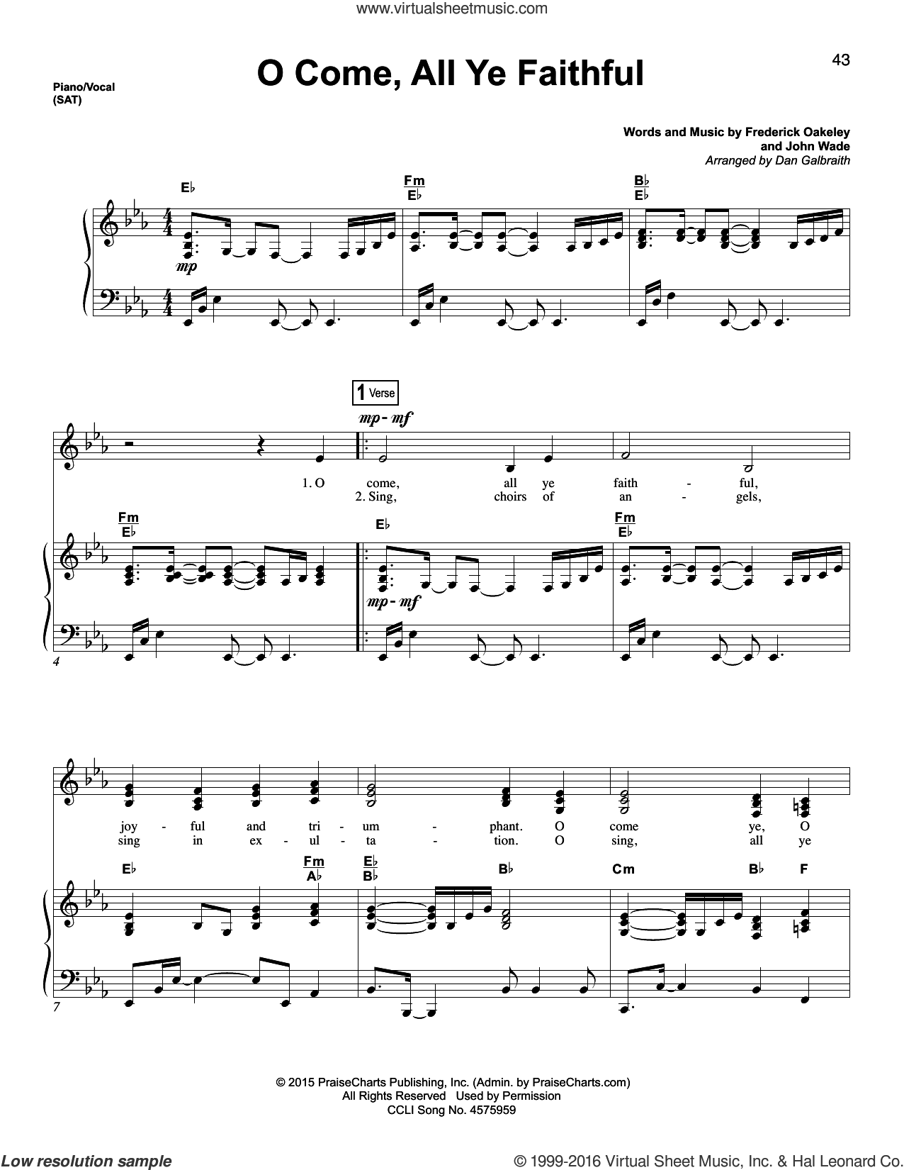 O Come, All Ye Faithful sheet music for voice and piano by Dan Galbraith, Miscellaneous and Frederick Oakeley, intermediate. Score Image Preview.