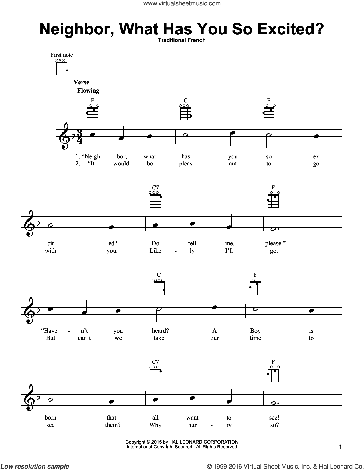 Neighbor, What Has You So Excited? sheet music for ukulele. Score Image Preview.