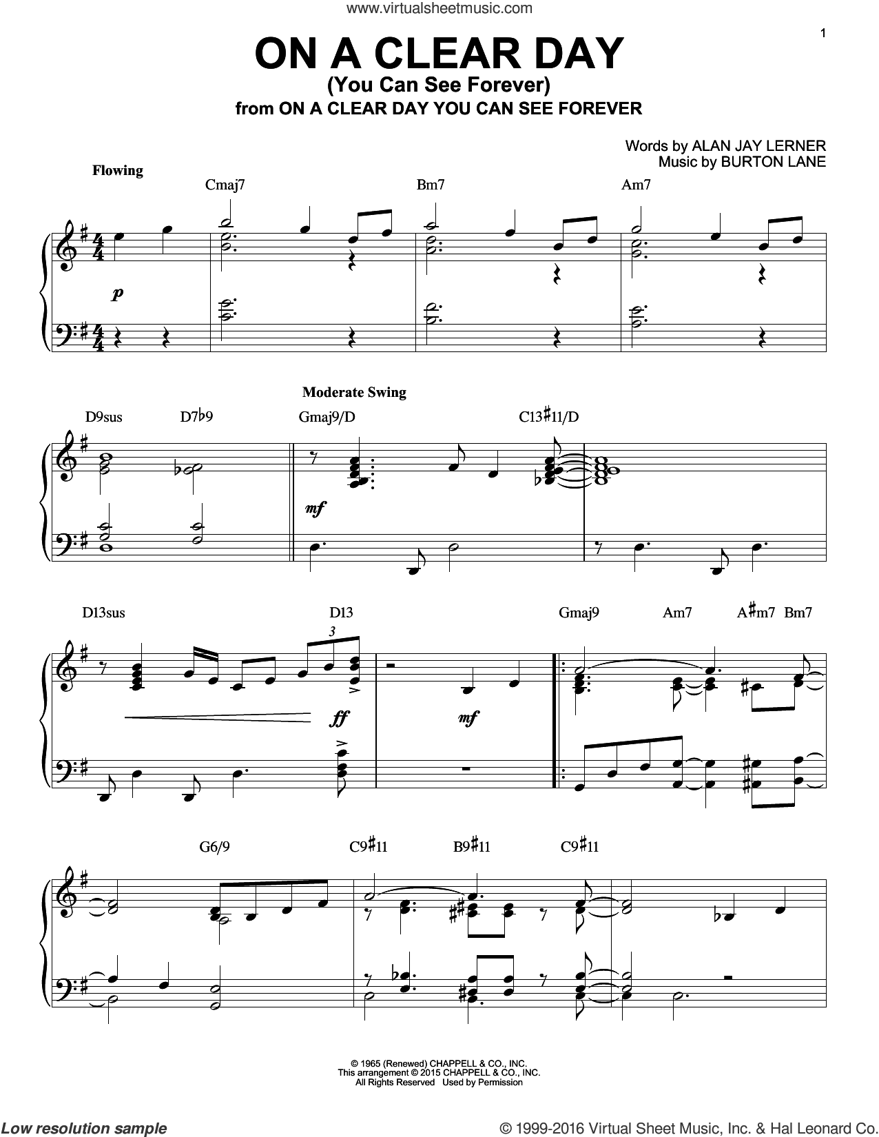 On A Clear Day (You Can See Forever) sheet music for piano solo by Alan Jay Lerner and Burton Lane. Score Image Preview.