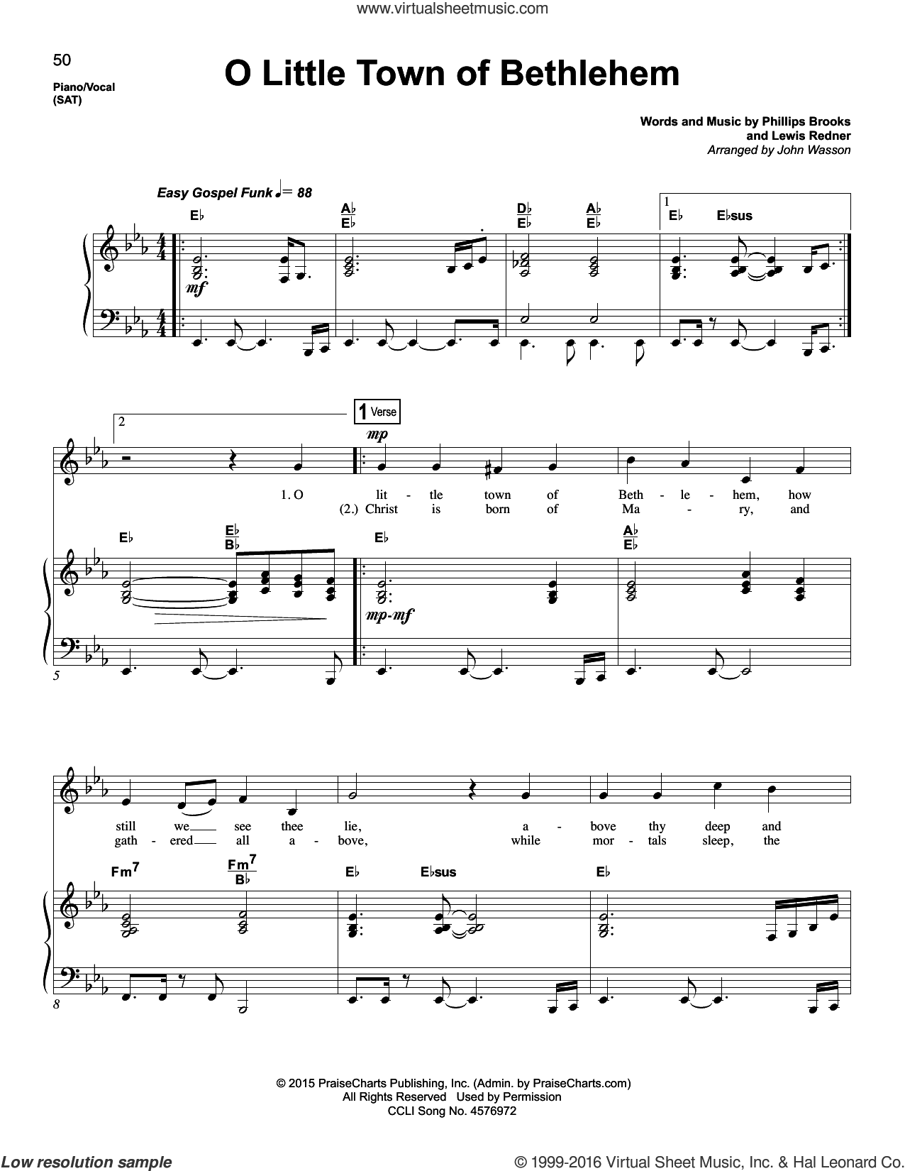 O Little Town Of Bethlehem sheet music for voice and piano by Lewis Redner, John Wasson and Phillips Brooks. Score Image Preview.
