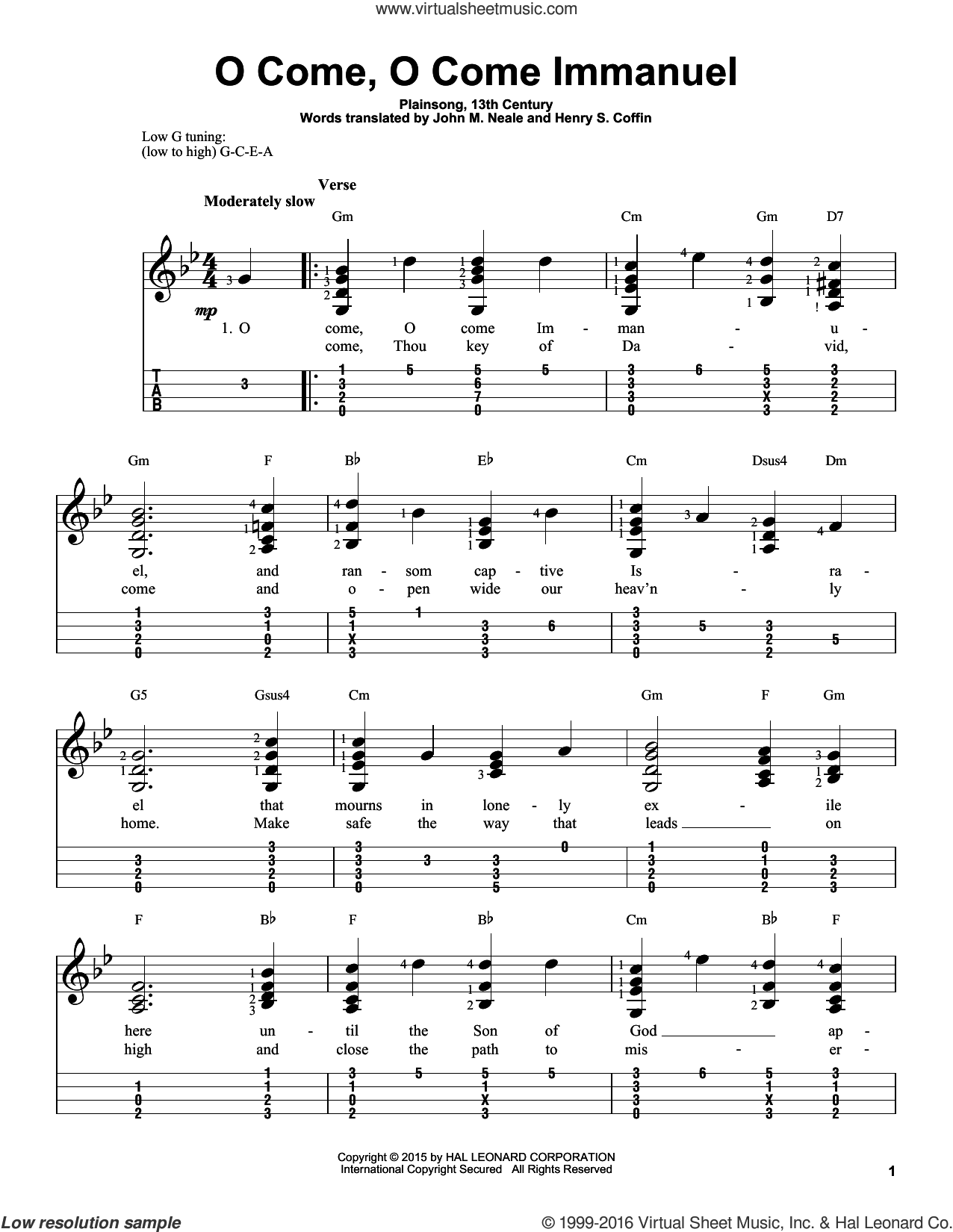 O Come, O Come Immanuel sheet music for ukulele (easy tablature) (ukulele easy tab) by Plainsong, 13th Century, John Mason Neale and Henry S. Coffin (trans.), intermediate skill level