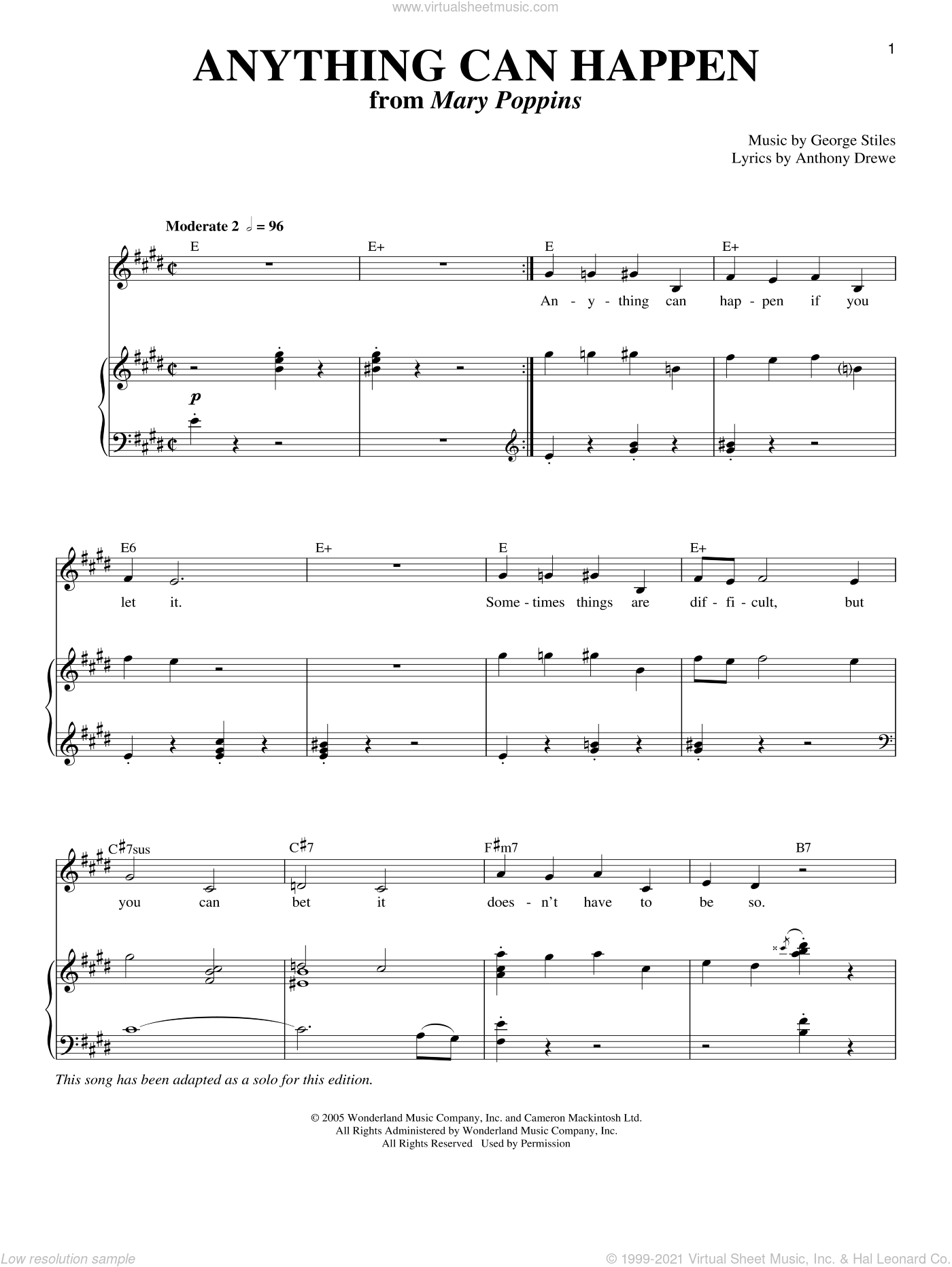 Anything Can Happen sheet music for voice and piano by Anthony Drewe and George Stiles, intermediate skill level