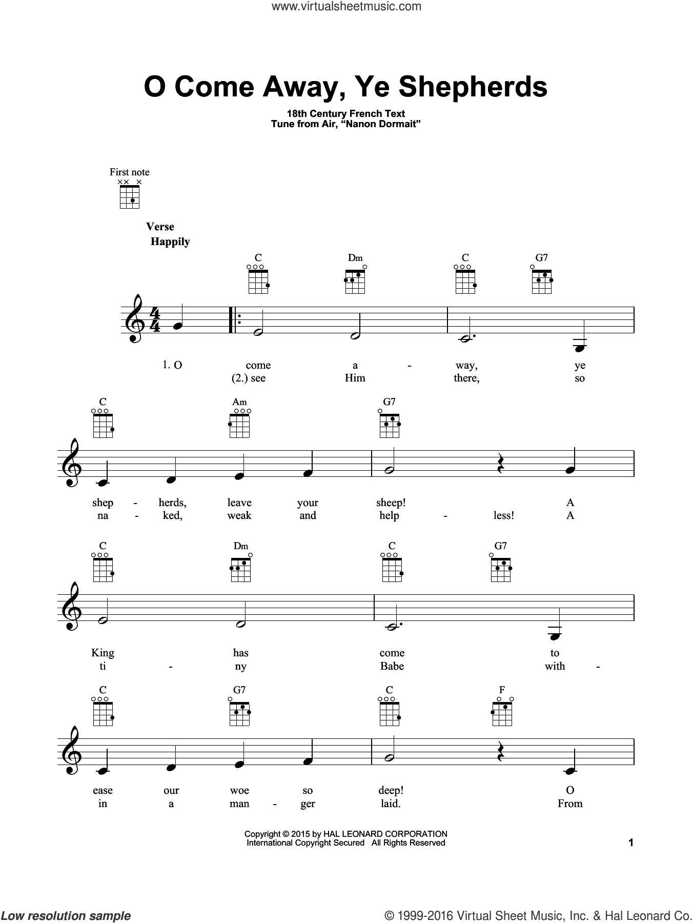 O Come Away, Ye Shepherds sheet music for ukulele by Anonymous, 18th Century French and From Air, 'Nanon Dormait', intermediate skill level