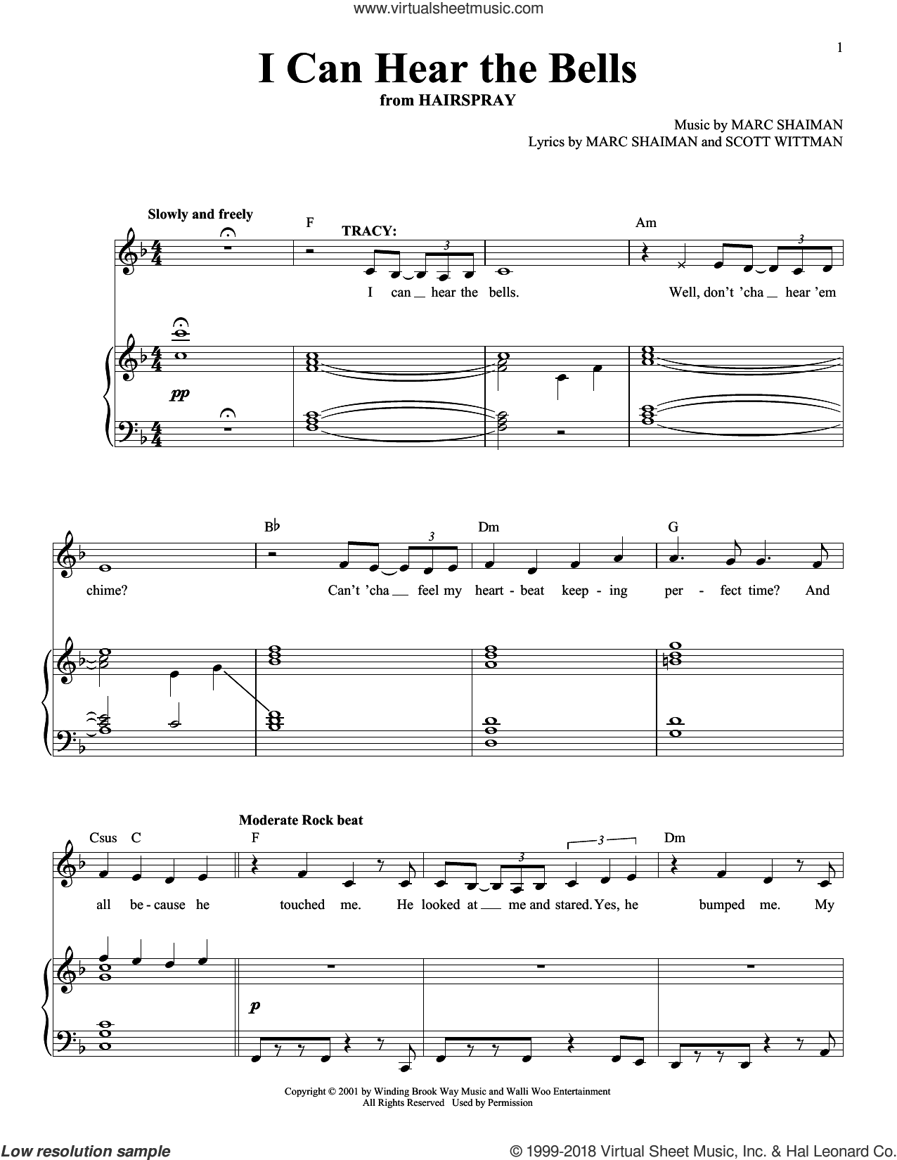 I Can Hear The Bells sheet music for voice and piano by Marc Shaiman & Scott Wittman, Marc Shaiman and Scott Wittman, intermediate skill level