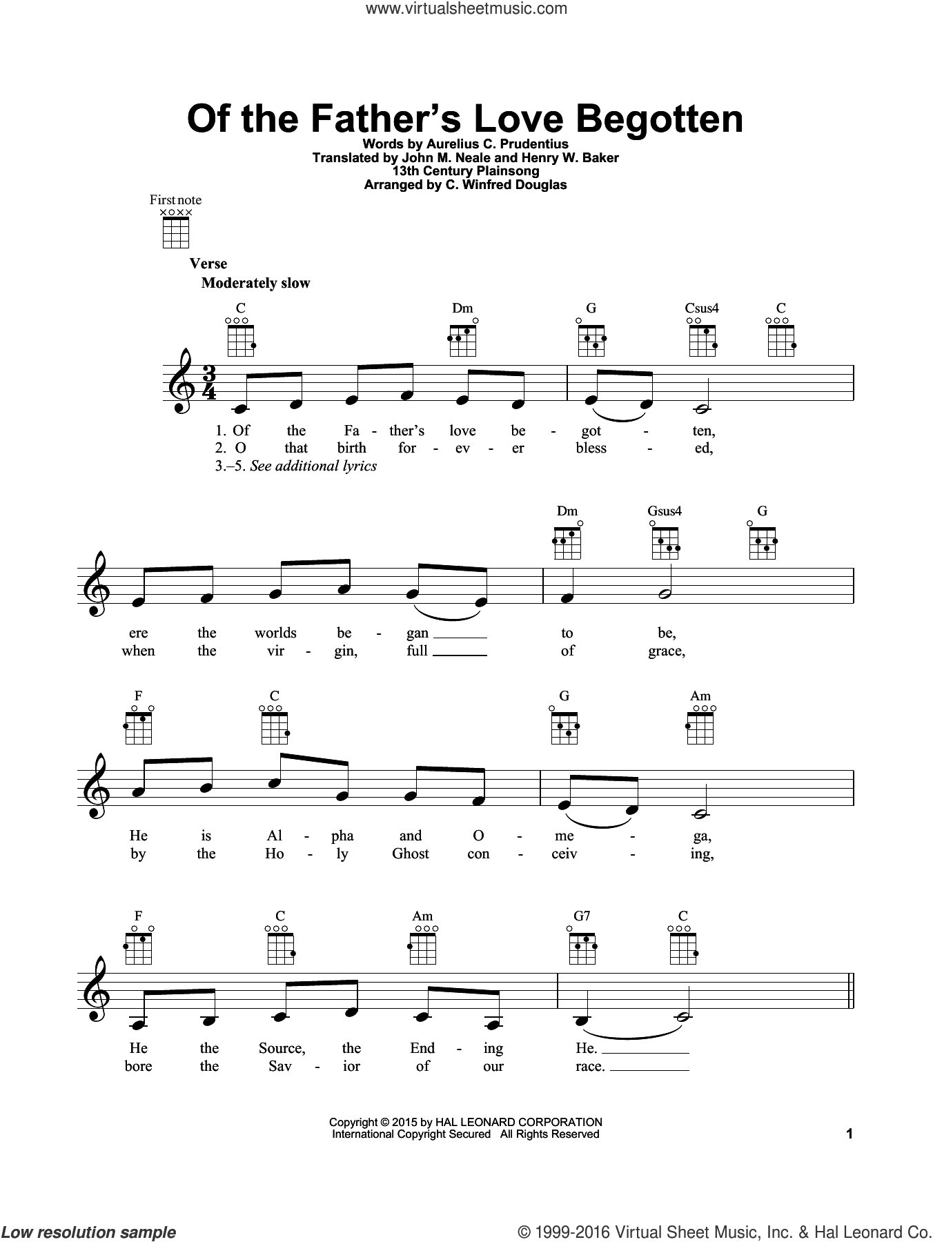 Of The Father's Love Begotten sheet music for ukulele by Aurelius C. Prudentius, 13th Century Plainsong, C. Winfred Douglas, Henry W. Baker and John Mason Neale, intermediate skill level