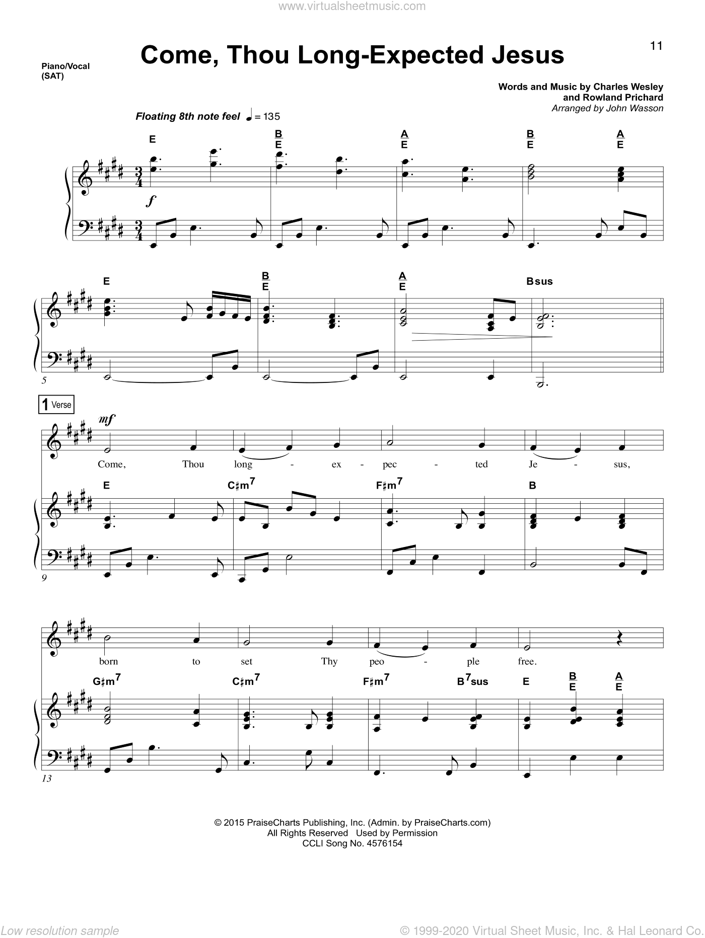 Wesley Come Thou Long Expected Jesus Sheet Music For Voice And Piano