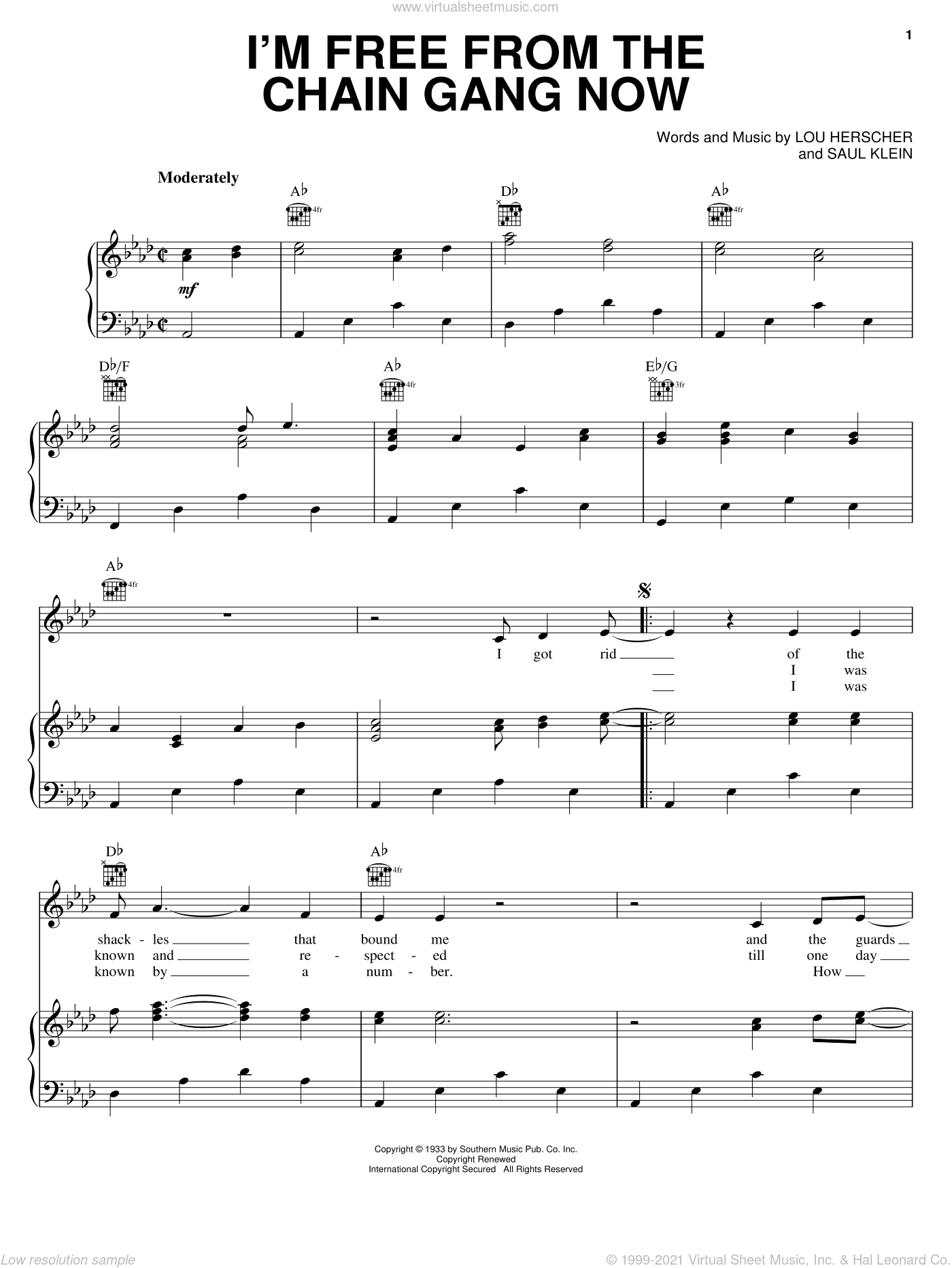 I'm Free From The Chain Gang Now sheet music for voice, piano or guitar by Johnny Cash, Jimmie Rodgers, Lou Herscher and Saul Klein, intermediate skill level