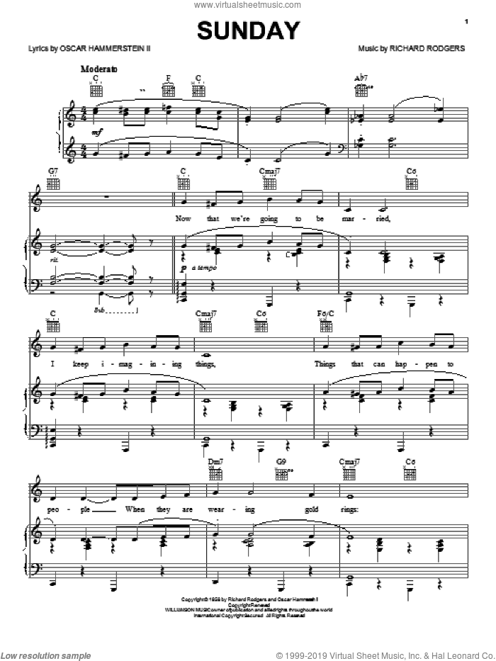 Sunday sheet music for voice, piano or guitar by Richard Rodgers, Rodgers & Hammerstein and Oscar II Hammerstein. Score Image Preview.