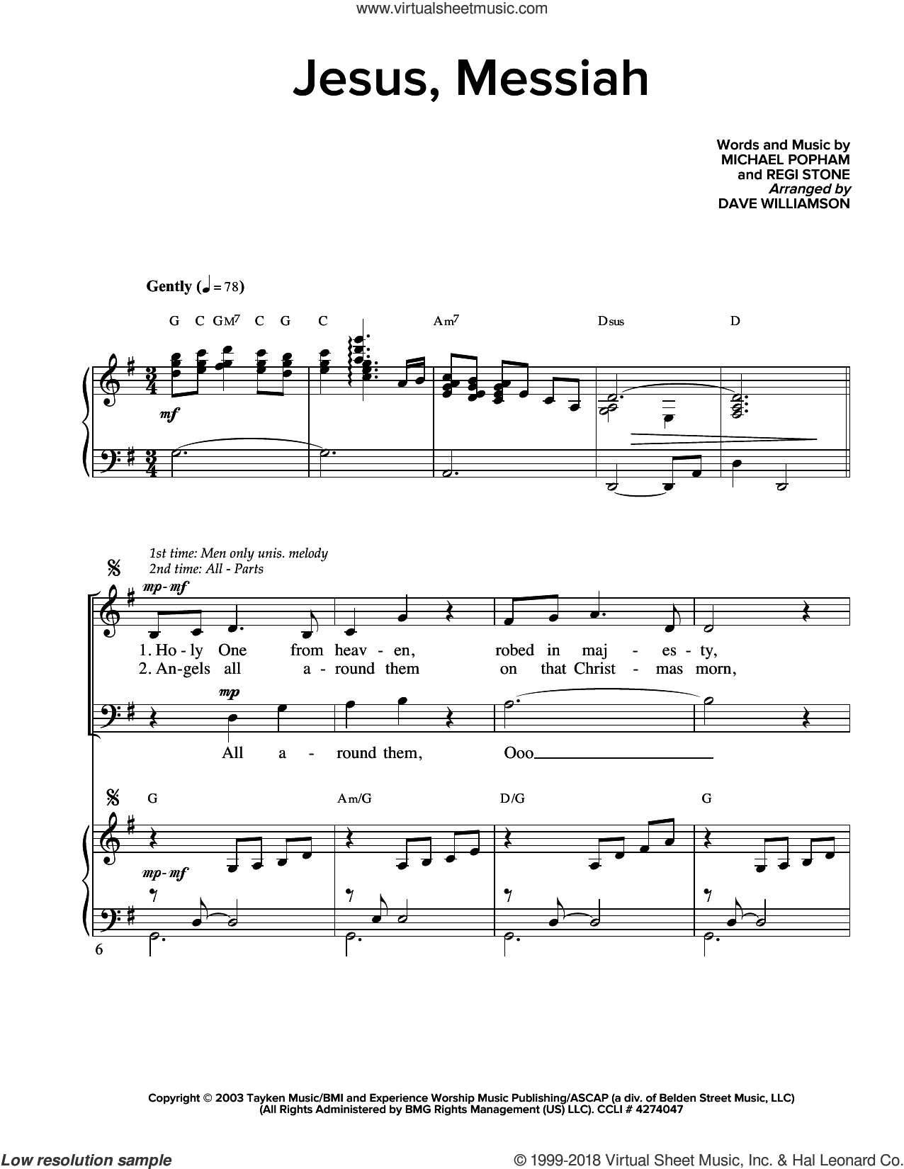 Jesus, Messiah sheet music for choir (SATB) by Michael Popham and Regi Stone. Score Image Preview.