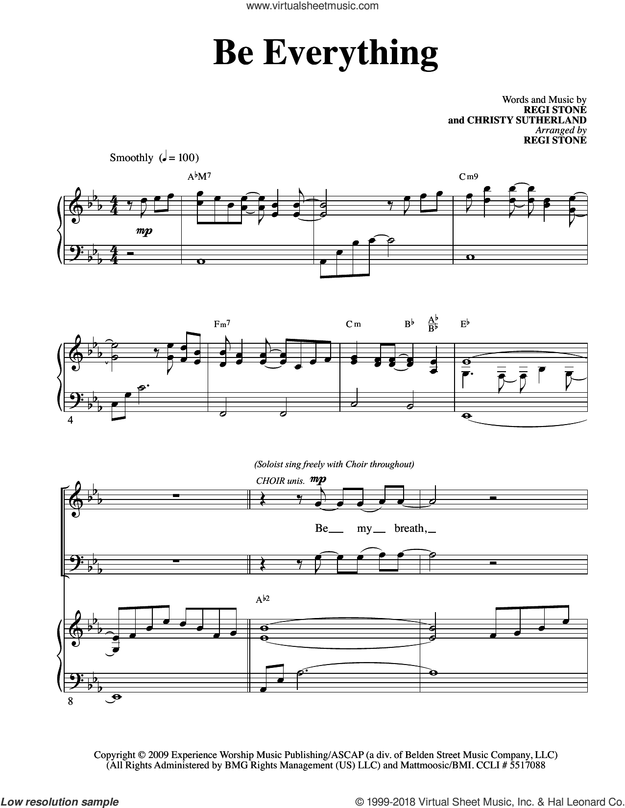 Be Everything sheet music for choir (SATB) by Regi Stone, intermediate choir (SATB). Score Image Preview.