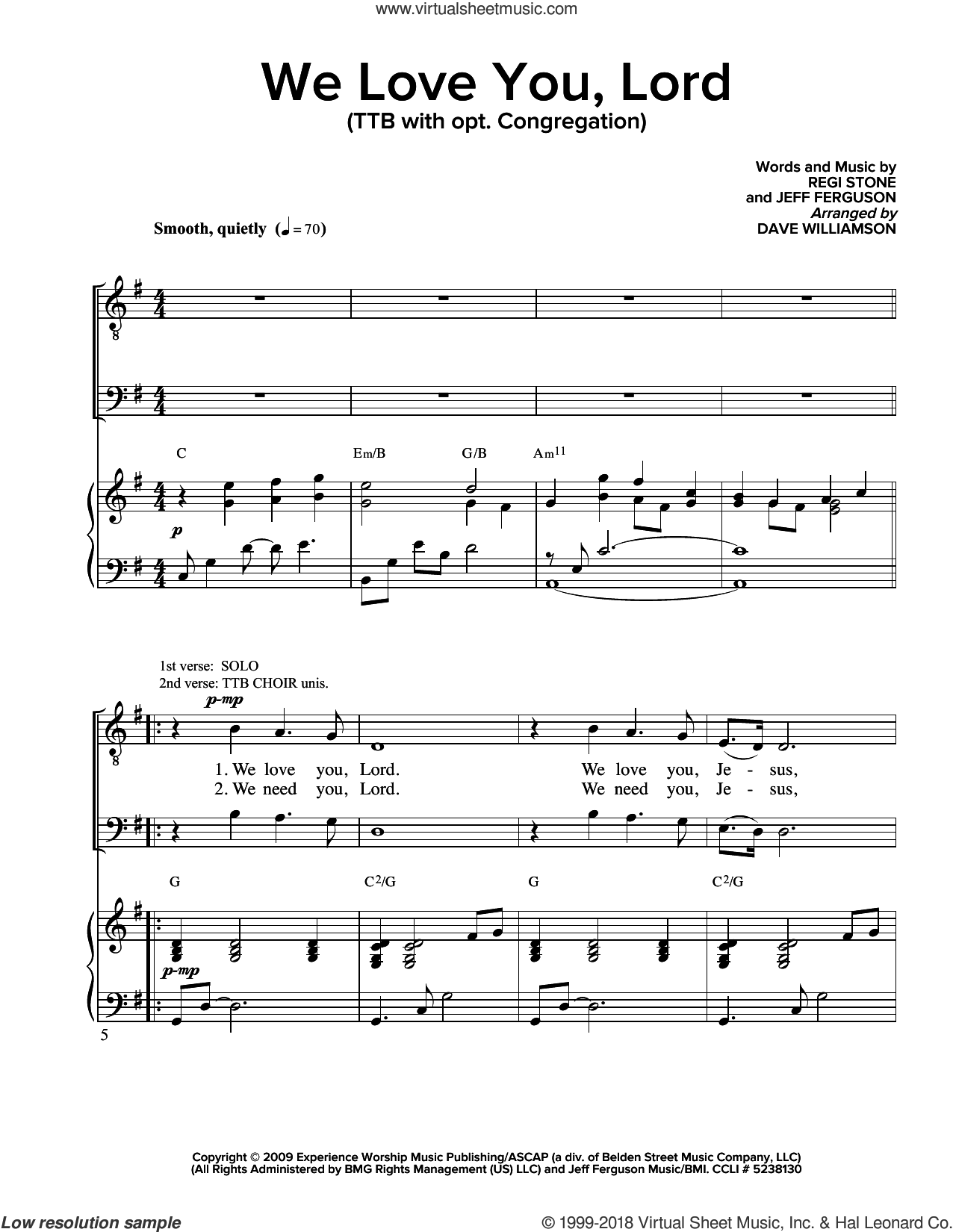 We Love You Lord sheet music for choir (SATB: soprano, alto, tenor, bass) by Regi Stone and Jeffrey Ferguson, intermediate. Score Image Preview.