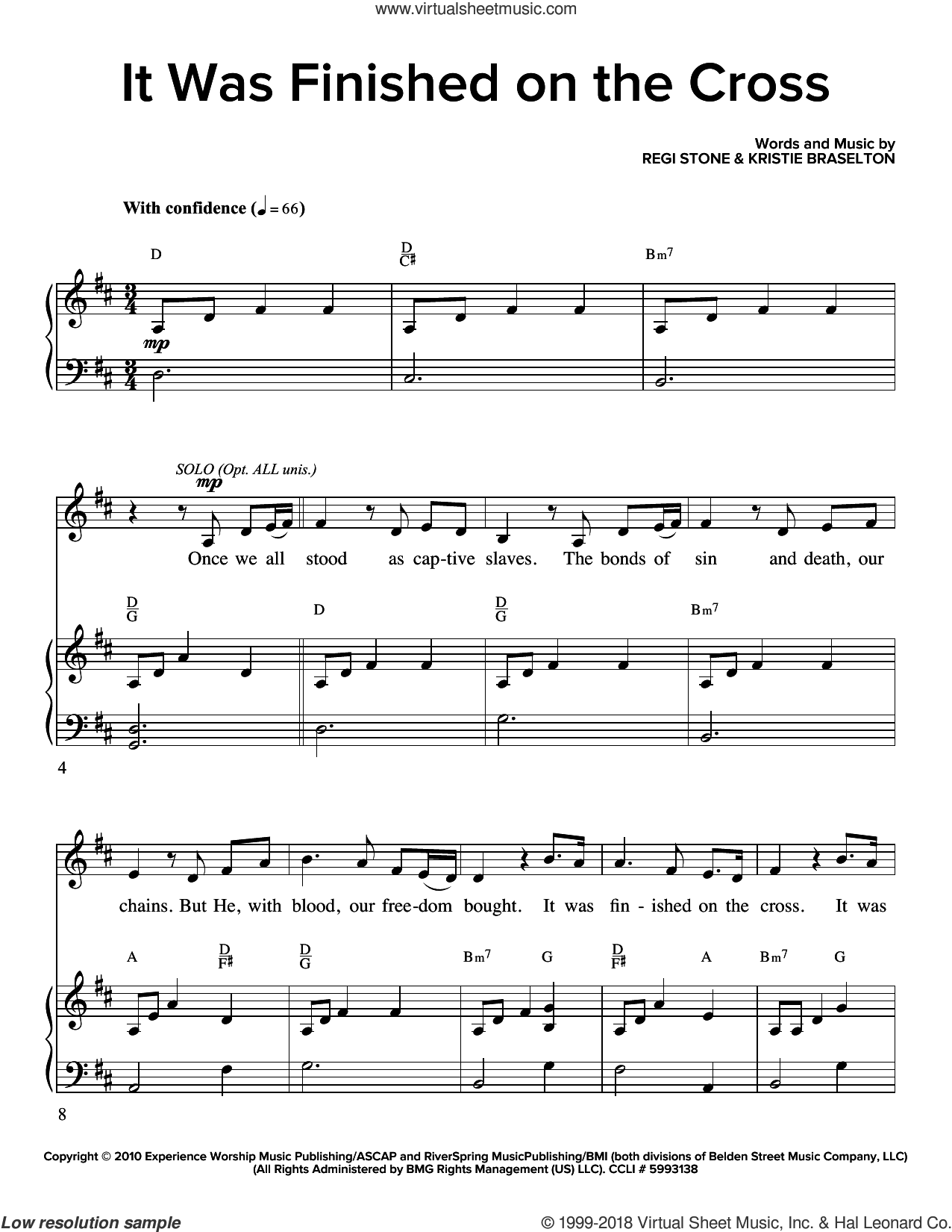 It Was Finished On The Cross sheet music for choir (SATB: soprano, alto, tenor, bass) by Regi Stone and Kristie Braselton, intermediate skill level