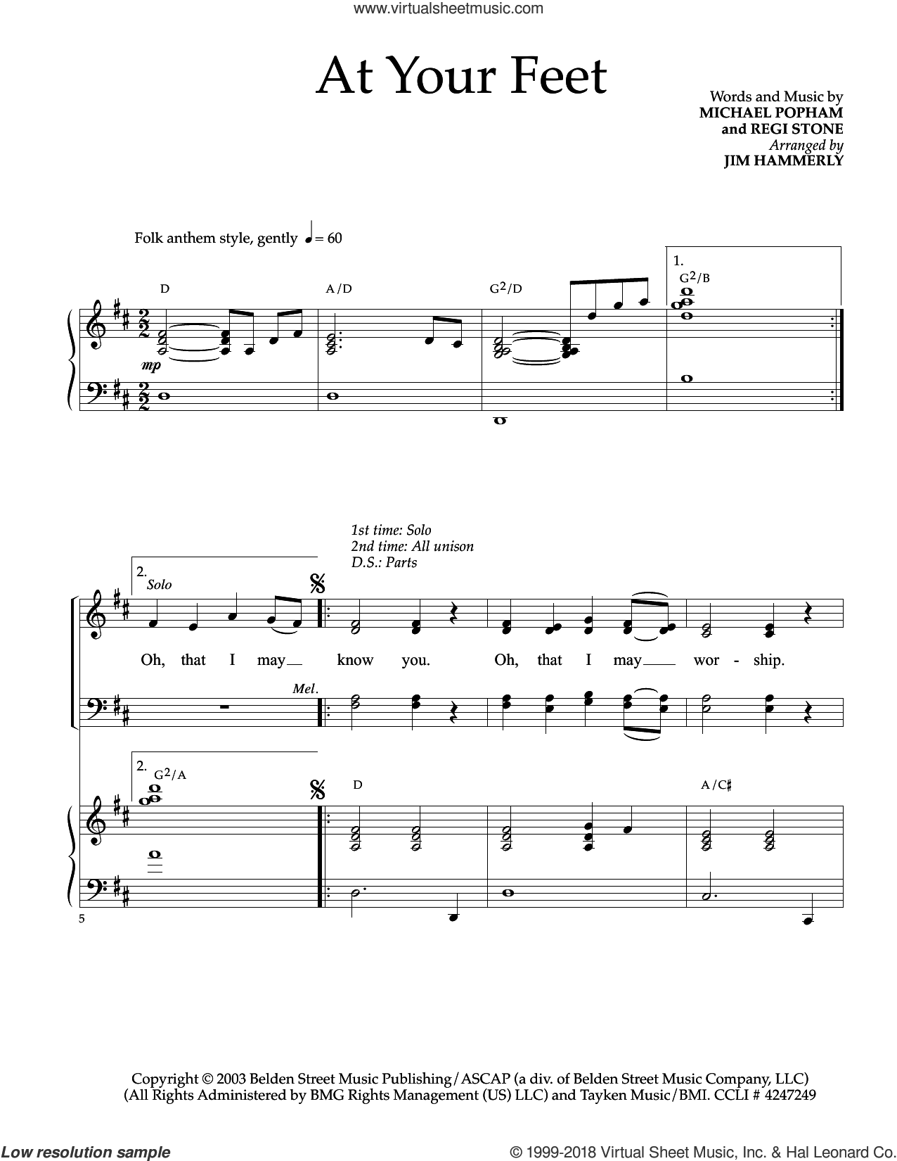 At Your Feet sheet music for choir (SATB: soprano, alto, tenor, bass) by Michael Popham and Regi Stone, intermediate skill level