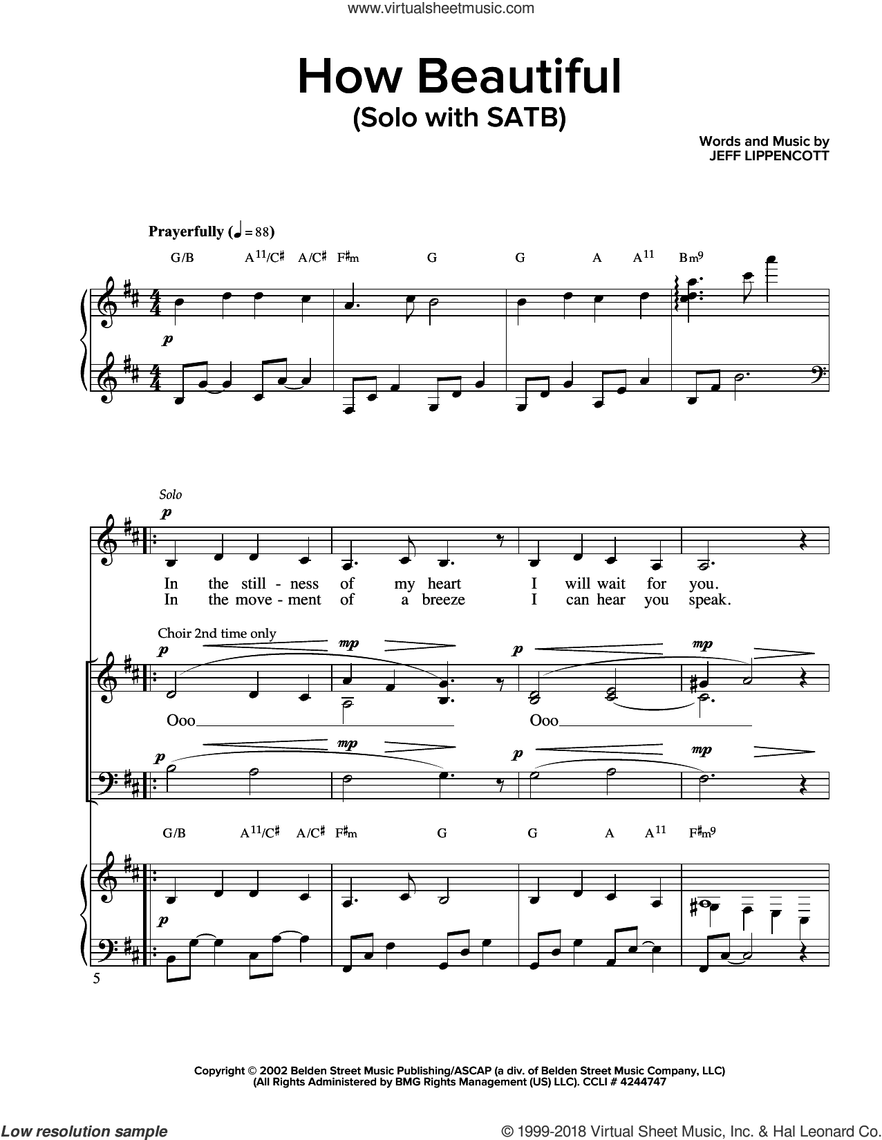 How Beautiful sheet music for choir and piano (SATB) by Jeff Lippincott. Score Image Preview.