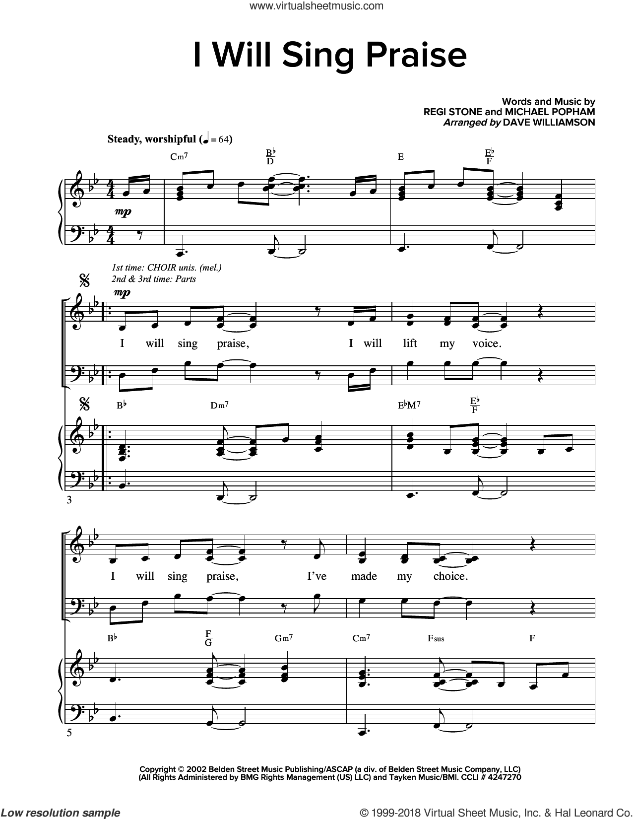 I Will Sing Praise sheet music for choir (SATB) by Regi Stone and Michael D. Popham, intermediate. Score Image Preview.